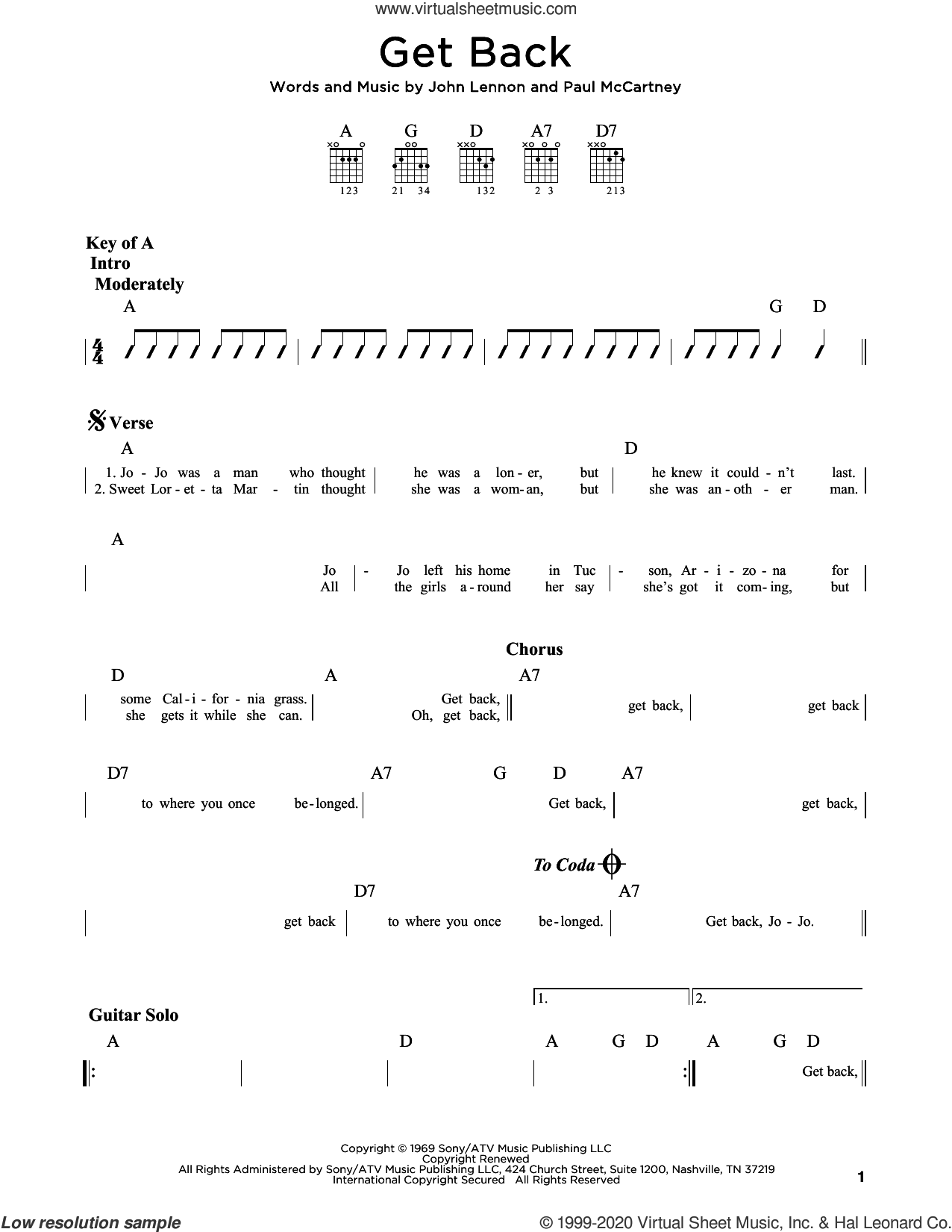 Get Back sheet music for guitar (rhythm tablature) by The Beatles, John Lennon and Paul McCartney, intermediate skill level