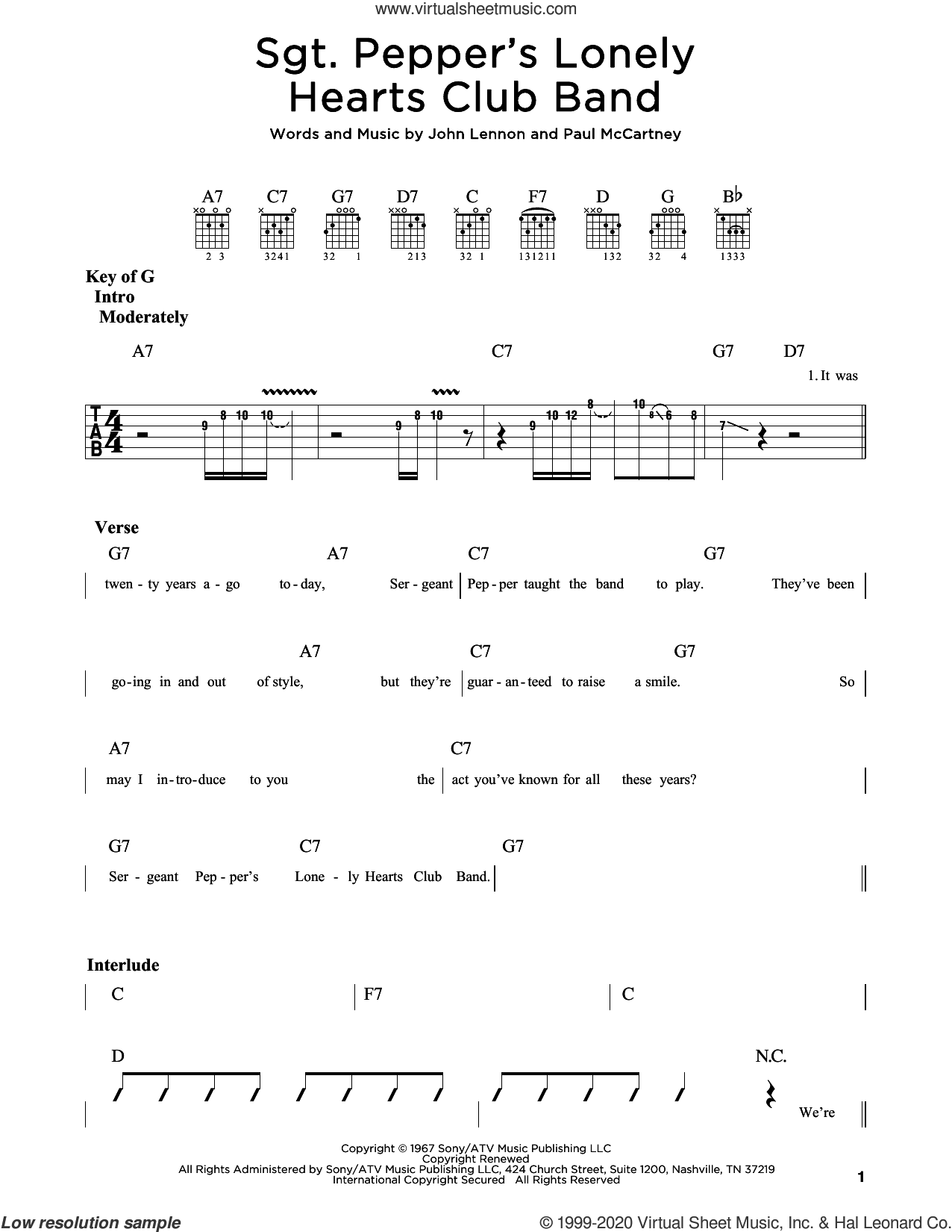 Sgt. Pepper's Lonely Hearts Club Band sheet music for guitar (rhythm tablature) by The Beatles, John Lennon and Paul McCartney, intermediate skill level