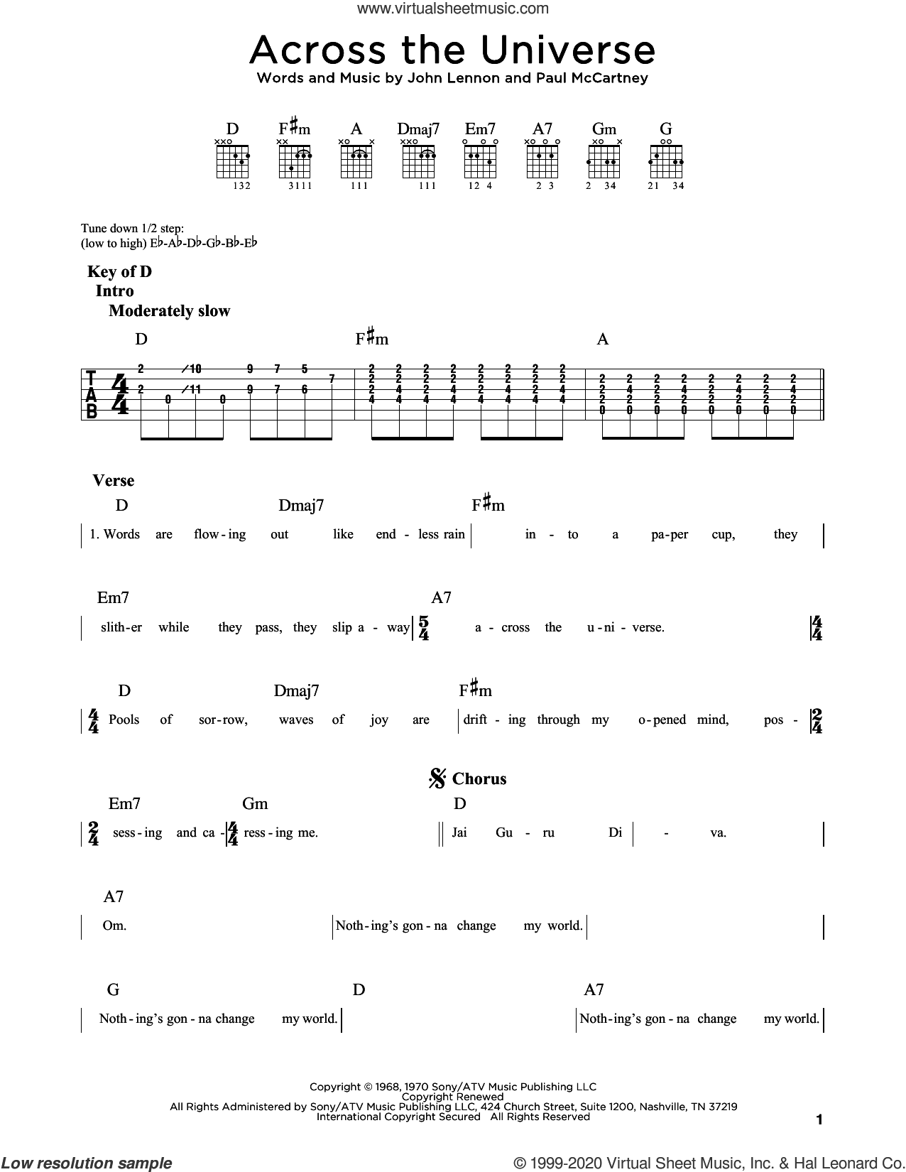 Across The Universe sheet music for guitar (rhythm tablature) by The Beatles, John Lennon and Paul McCartney, intermediate skill level