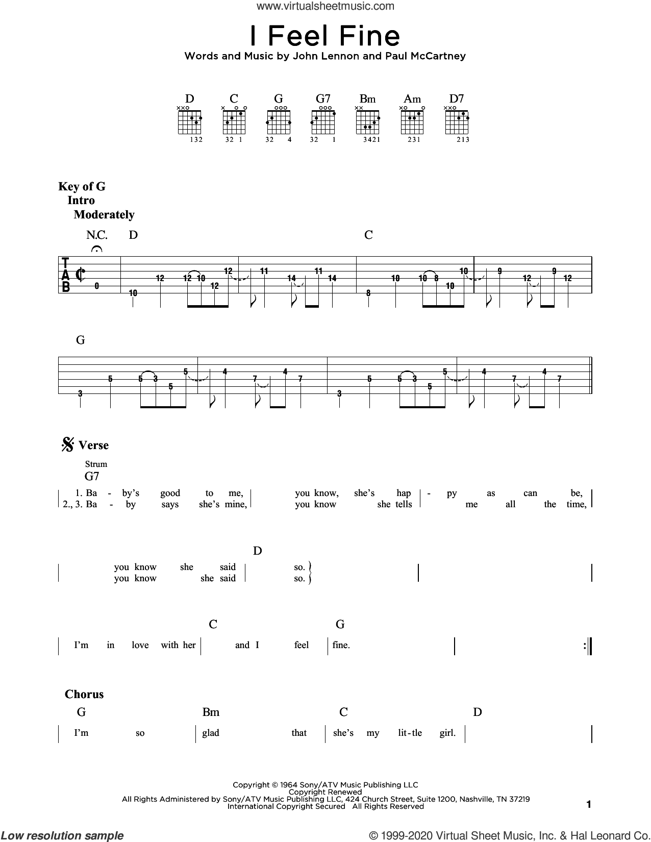 I Feel Fine sheet music for guitar (rhythm tablature) by The Beatles, John Lennon and Paul McCartney, intermediate skill level