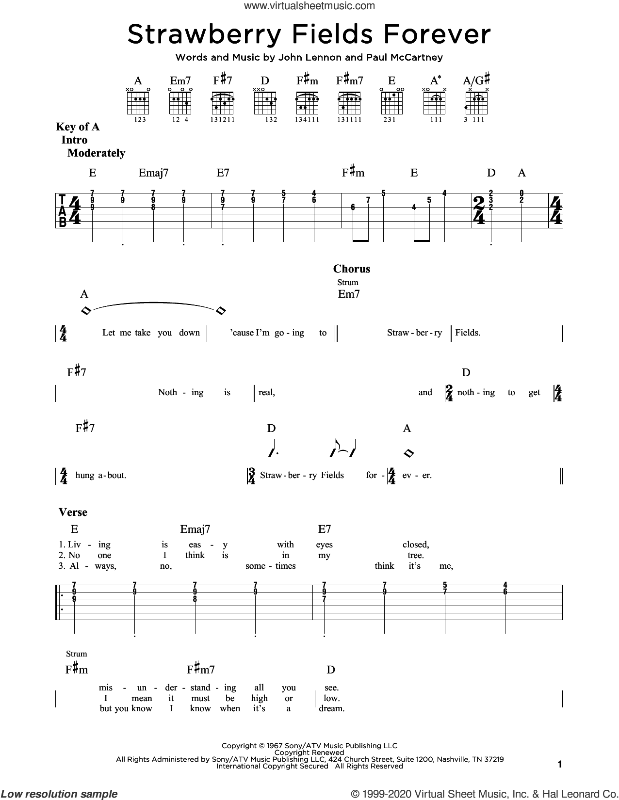 Strawberry Fields Forever sheet music for guitar (rhythm tablature) by The Beatles, John Lennon and Paul McCartney, intermediate skill level