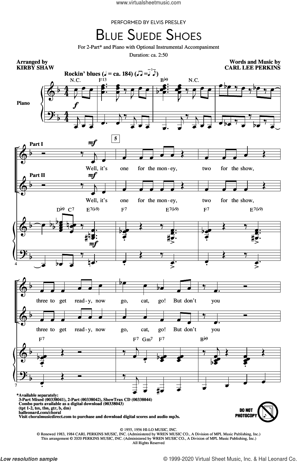 Blue Suede Shoes (arr. Kirby Shaw) sheet music for choir (2-Part) by Elvis Presley, Kirby Shaw and Carl Perkins, intermediate duet