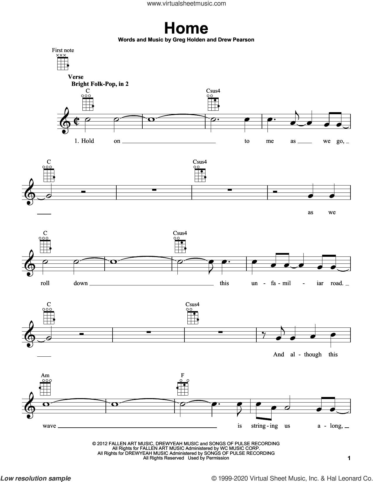 Home sheet music for ukulele by Phillip Phillips, Drew Pearson and Greg Holden, intermediate skill level