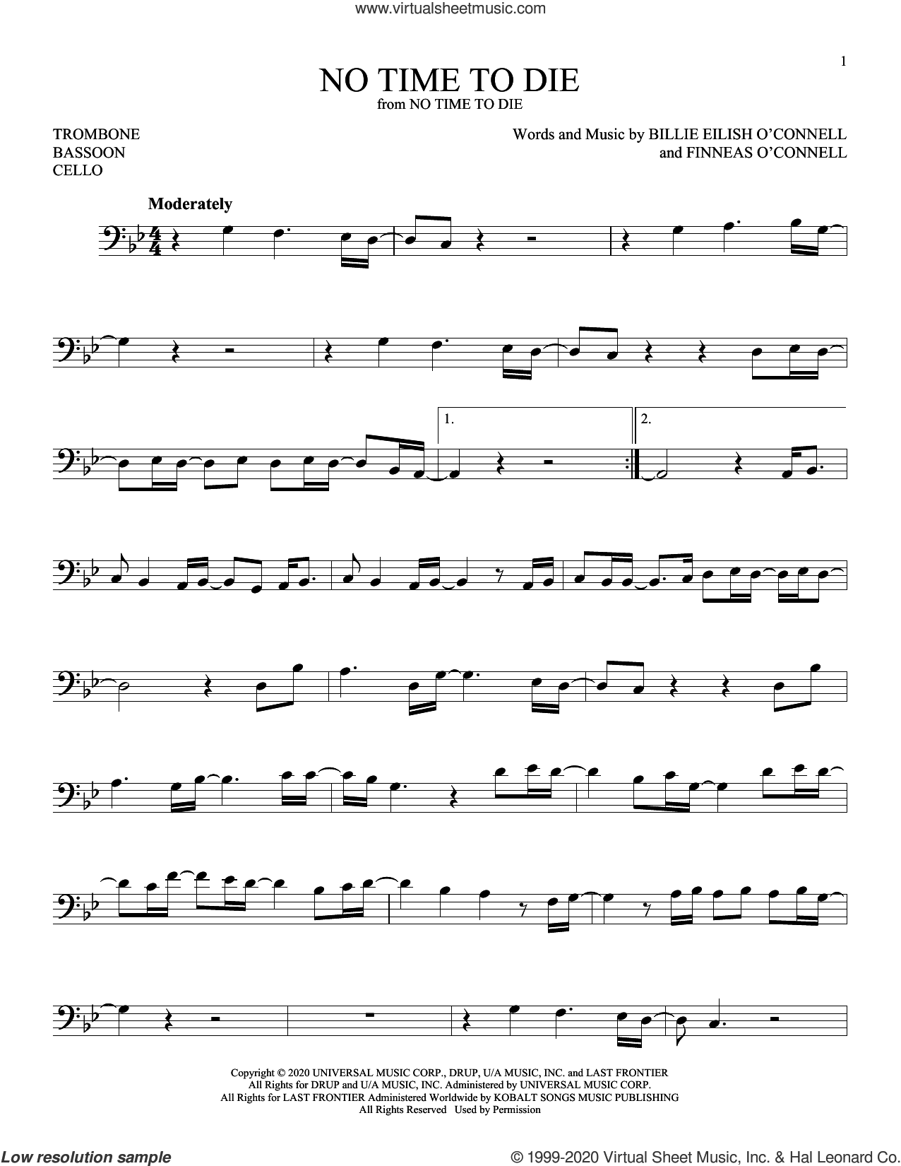 No Time To Die sheet music for Solo Instrument (bass clef) by Billie Eilish, intermediate skill level