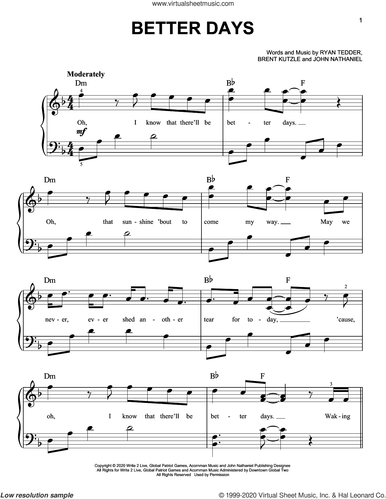 Better Days, (easy) sheet music for piano solo by OneRepublic, Brent Kutzle, John Nathaniel and Ryan Tedder, easy skill level