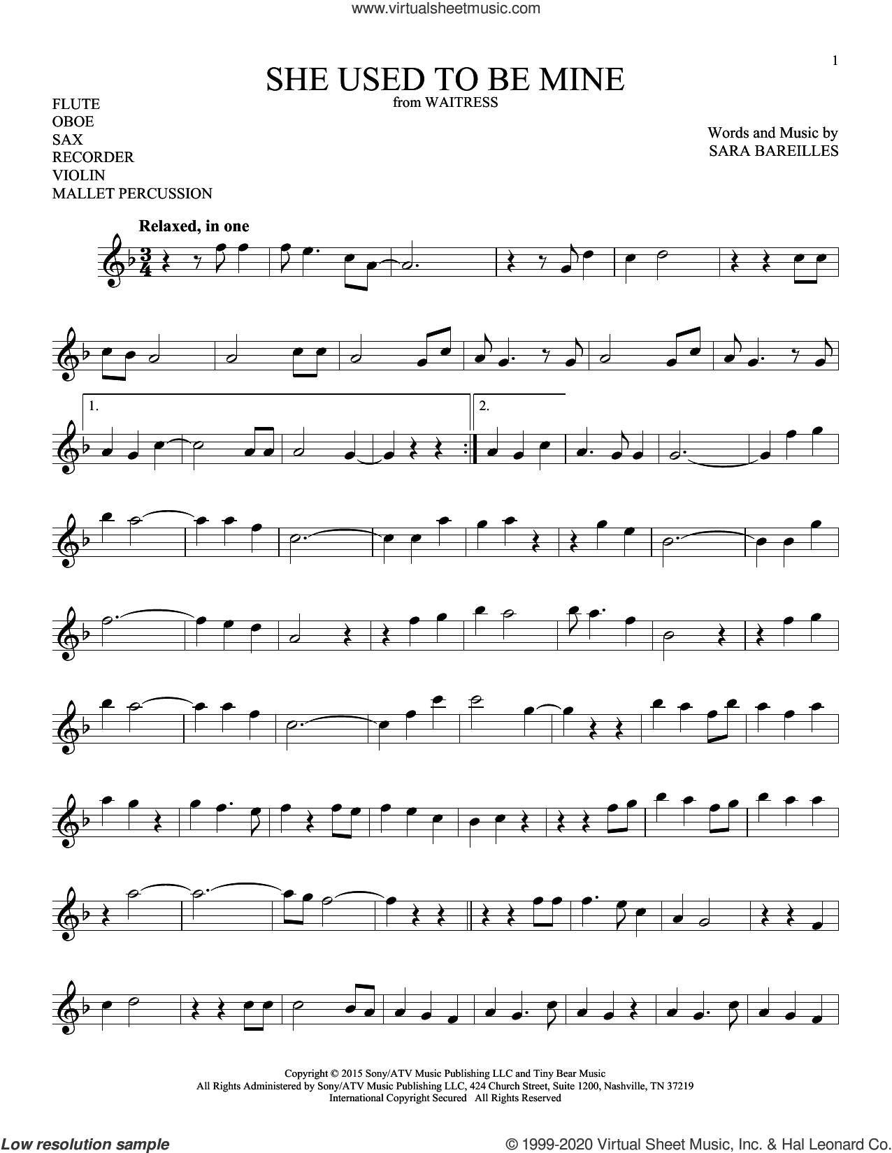 She Used To Be Mine (from Waitress) sheet music for Solo Instrument (treble clef high) by Sara Bareilles, intermediate skill level
