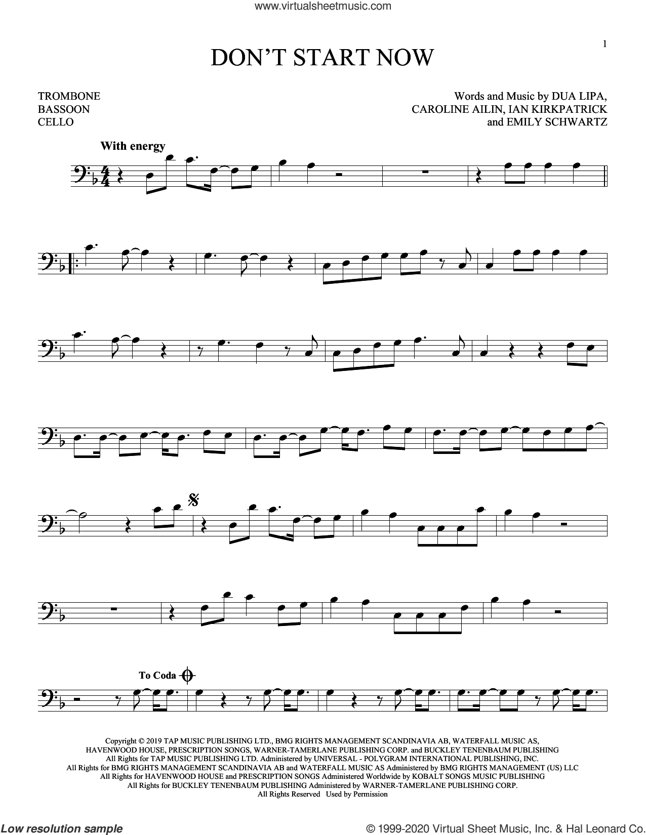 Don't Start Now sheet music for Solo Instrument (bass clef) by Dua Lipa, Caroline Ailin, Emily Schwartz and Ian Kirkpatrick, intermediate skill level