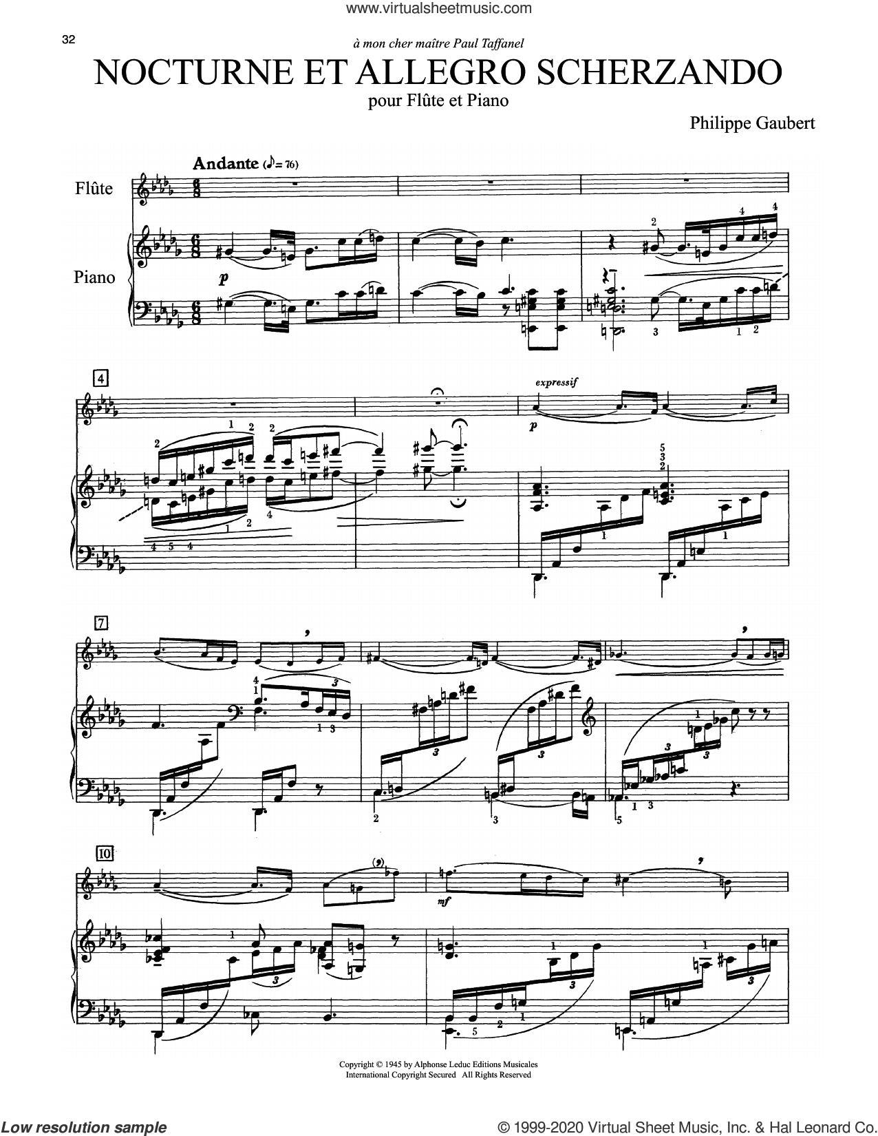 Nocturne Et Allegro Scherzando sheet music for flute and piano by Philippe Gaubert, classical score, intermediate skill level