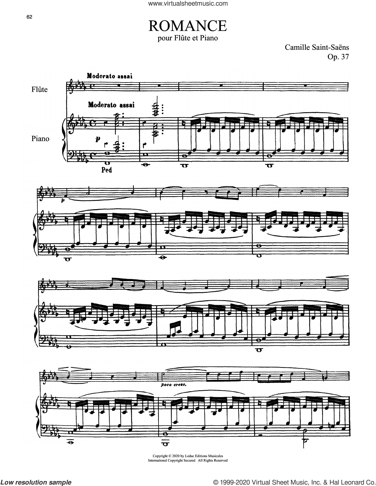Romance, Op. 37 sheet music for flute and piano by Camille Saint-Saens, classical score, intermediate skill level
