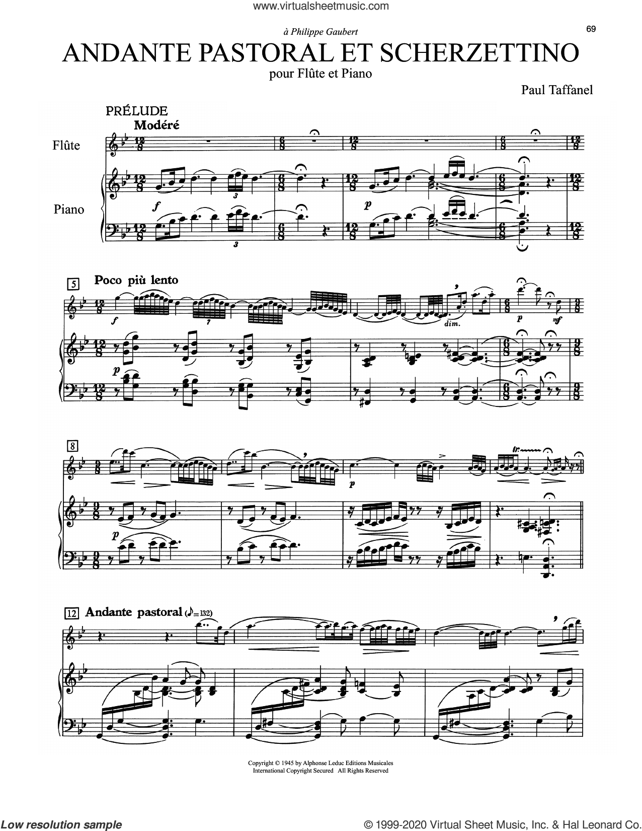 Andante Pastoral Et Scherzettino sheet music for flute and piano by Paul Taffanel, classical score, intermediate skill level