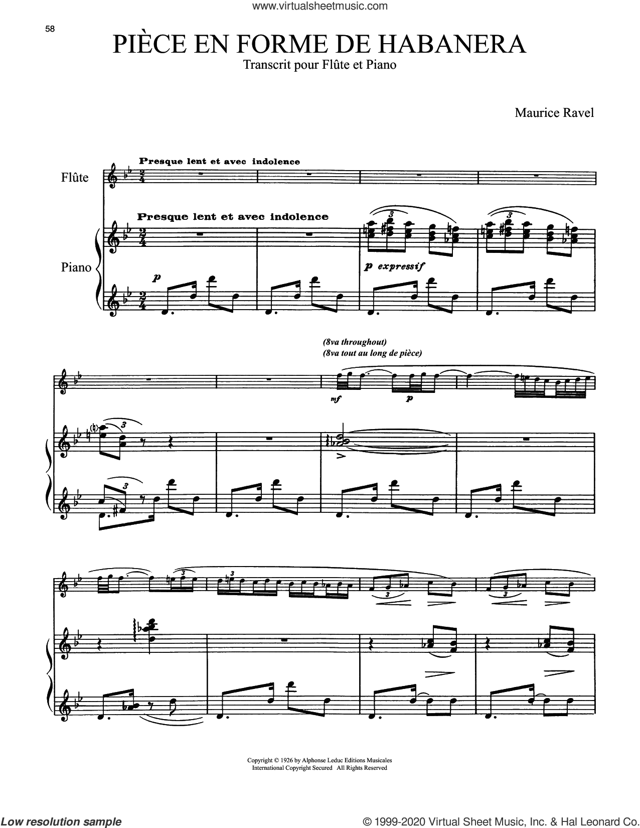 Piece En Forme De Habanera sheet music for flute and piano by Maurice Ravel, classical score, intermediate skill level