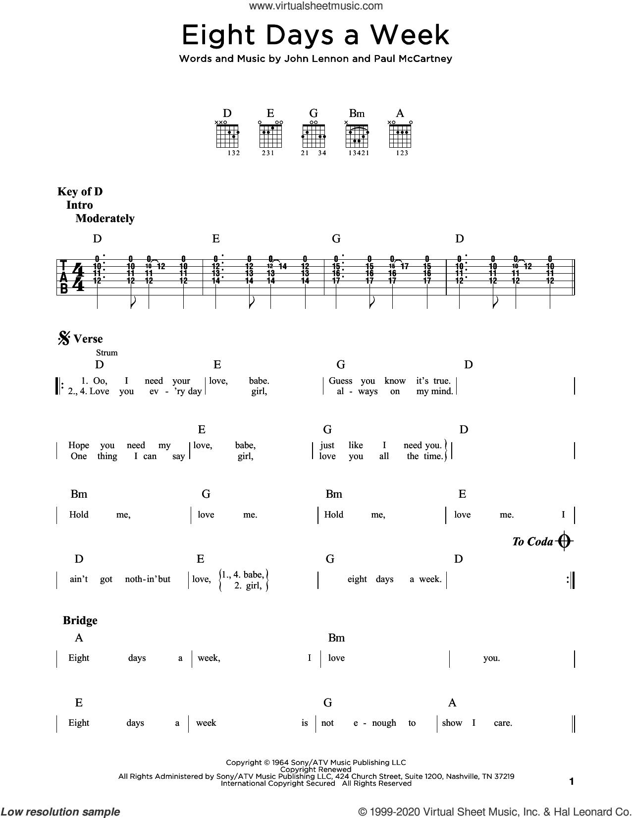Eight Days A Week sheet music for guitar (rhythm tablature) by The Beatles, John Lennon and Paul McCartney, intermediate skill level