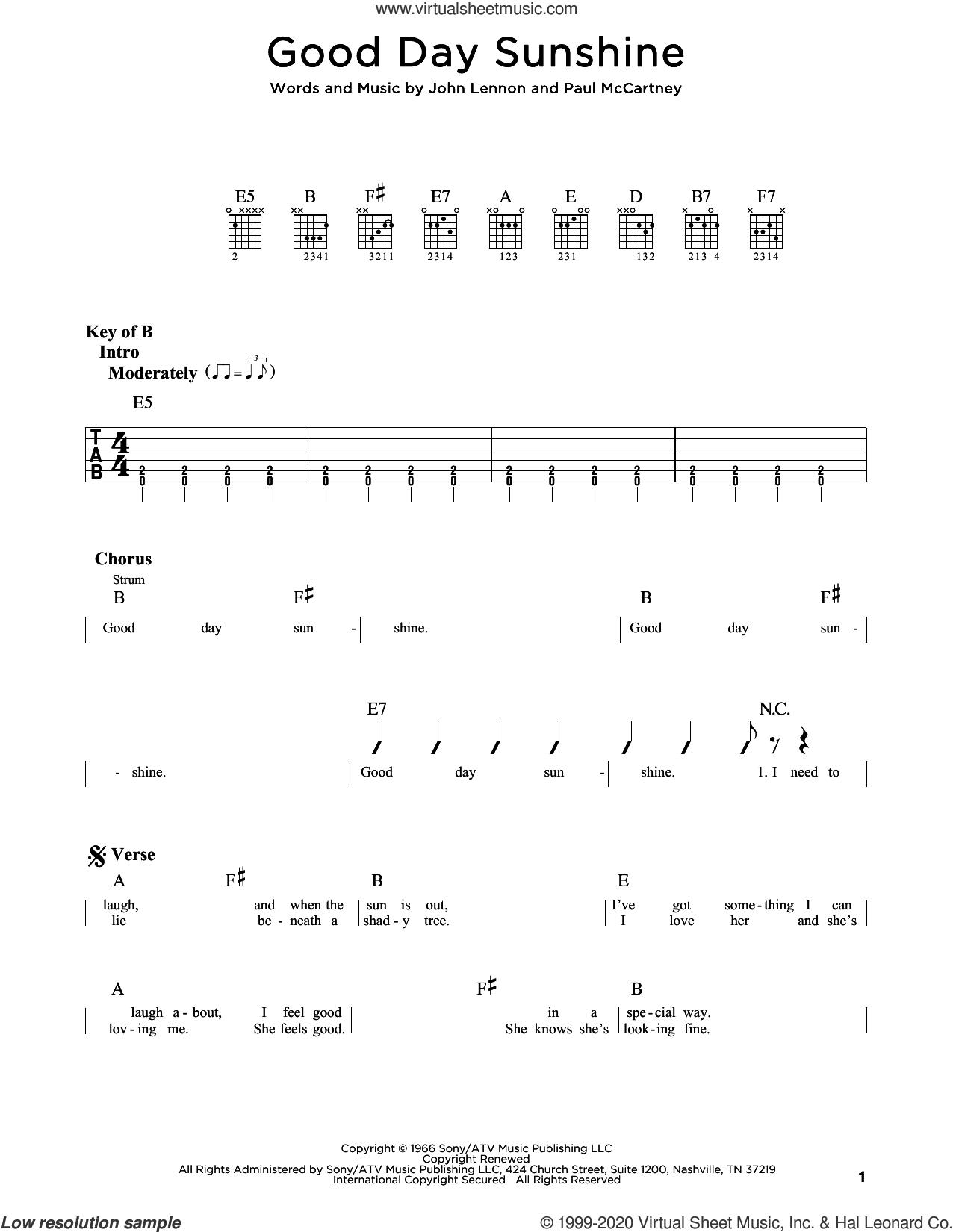 Good Day Sunshine sheet music for guitar (rhythm tablature) by The Beatles, John Lennon and Paul McCartney, intermediate skill level