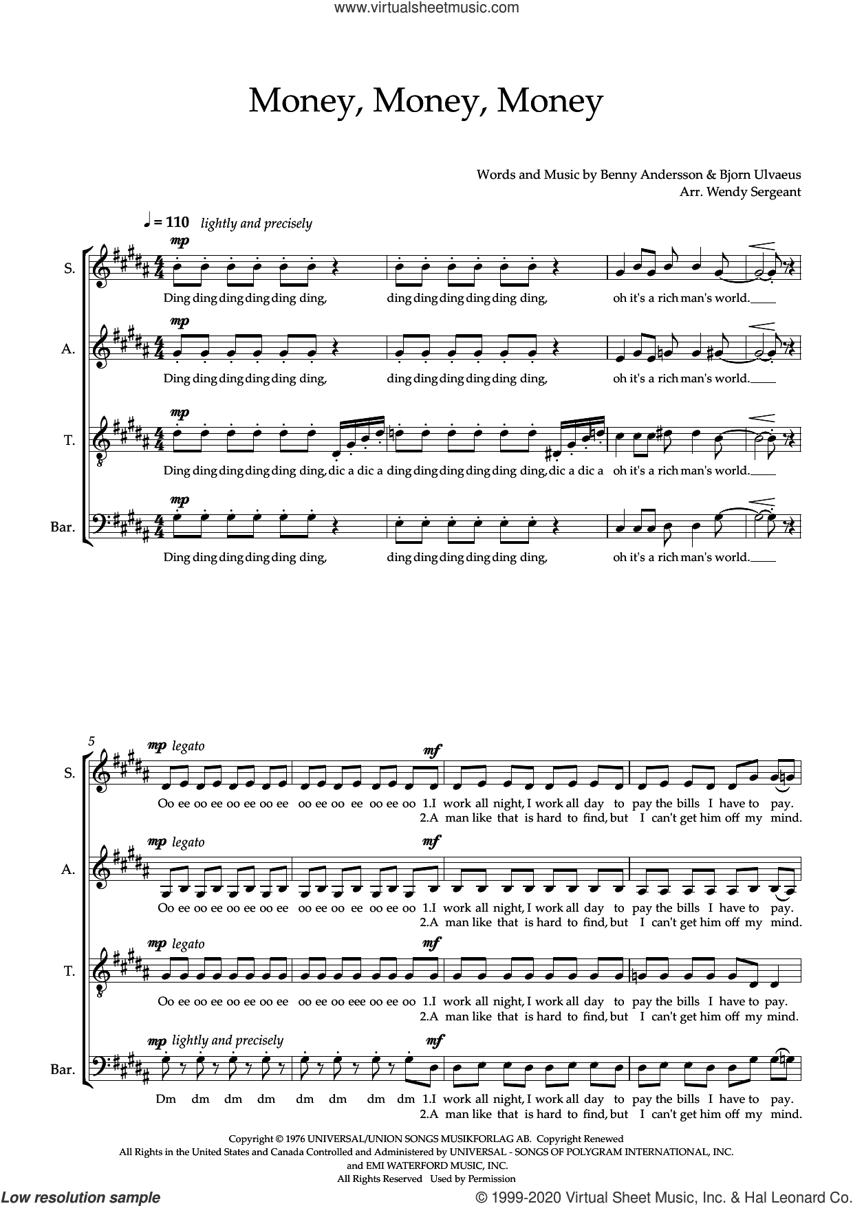 Money, Money, Money (arr. Wendy Sergeant) sheet music for choir (SATB: soprano, alto, tenor, bass) by ABBA, Wendy Sergeant, Benny Andersson and Bjorn Ulvaeus, intermediate skill level