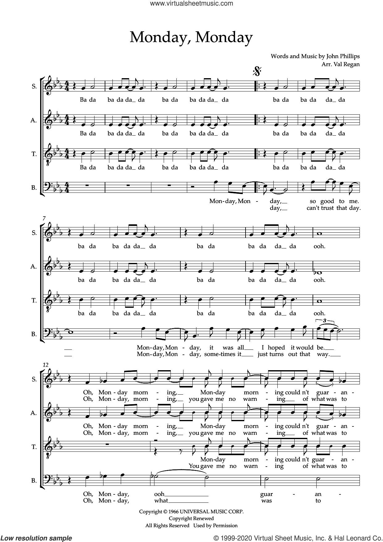 Monday, Monday (arr. Val Regan) sheet music for choir (SATB: soprano, alto, tenor, bass) by The Mamas and the Papas, Val Regan and John Phillips, intermediate skill level