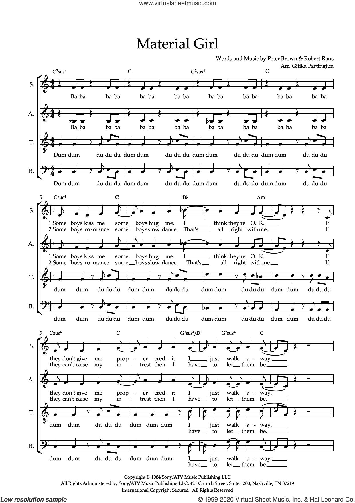 Material Girl (arr. Gitika Partington) sheet music for choir (SATB: soprano, alto, tenor, bass) by Madonna, Gitika Partington, Pete Brown and Robert Rans, intermediate skill level