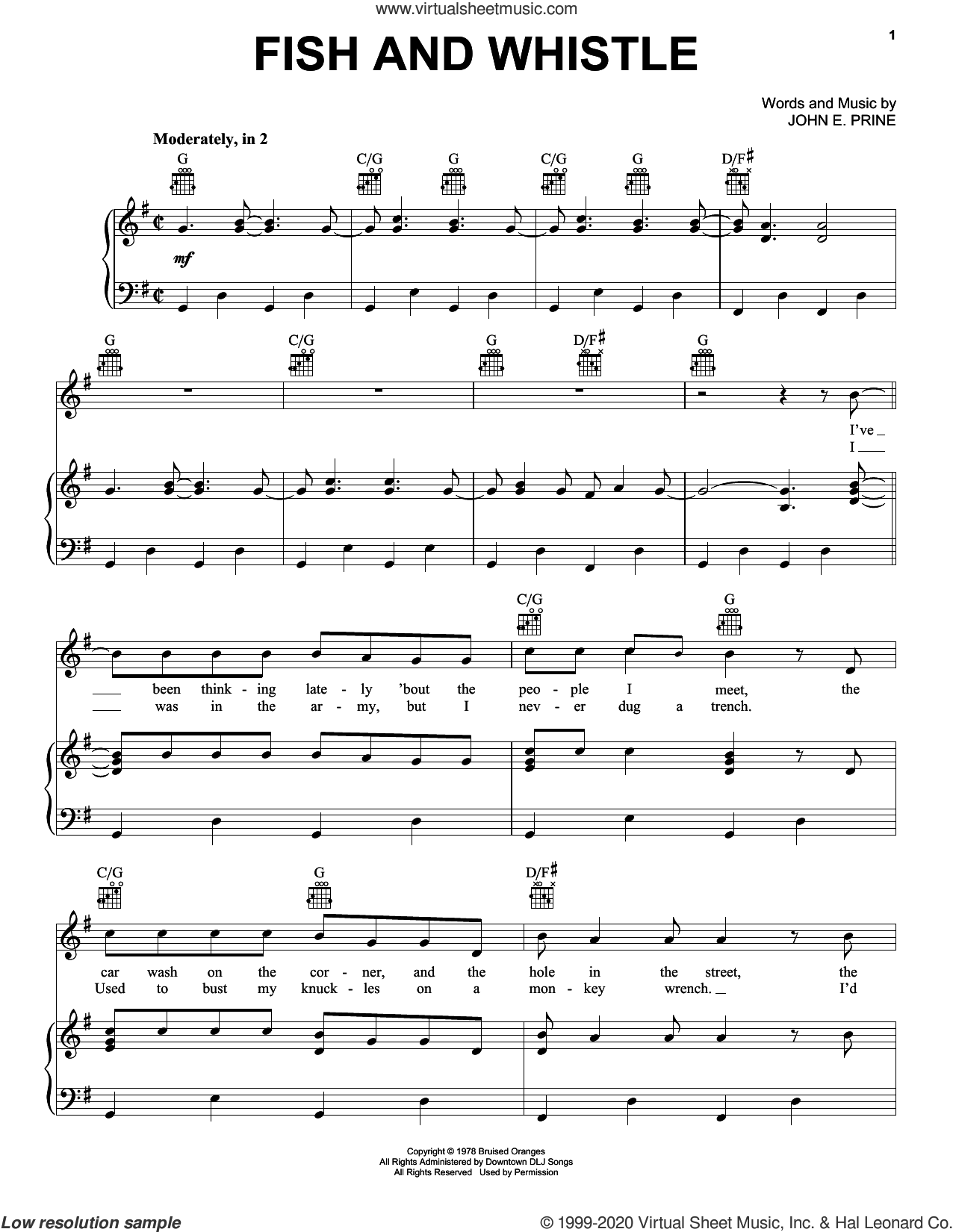 Fish And Whistle sheet music for voice, piano or guitar by John Prine and John E. Prine, intermediate skill level