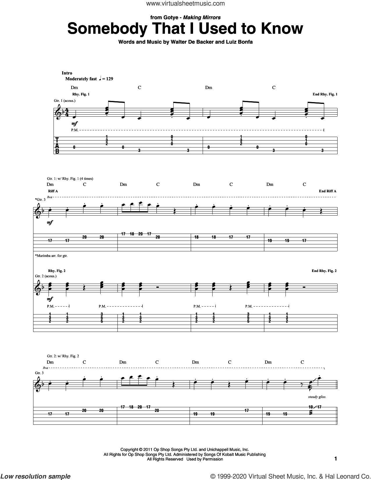Somebody That I Used To Know (feat. Kimbra) sheet music for guitar (tablature) by Gotye, Luiz Bonfa and Walter De Backer, intermediate skill level