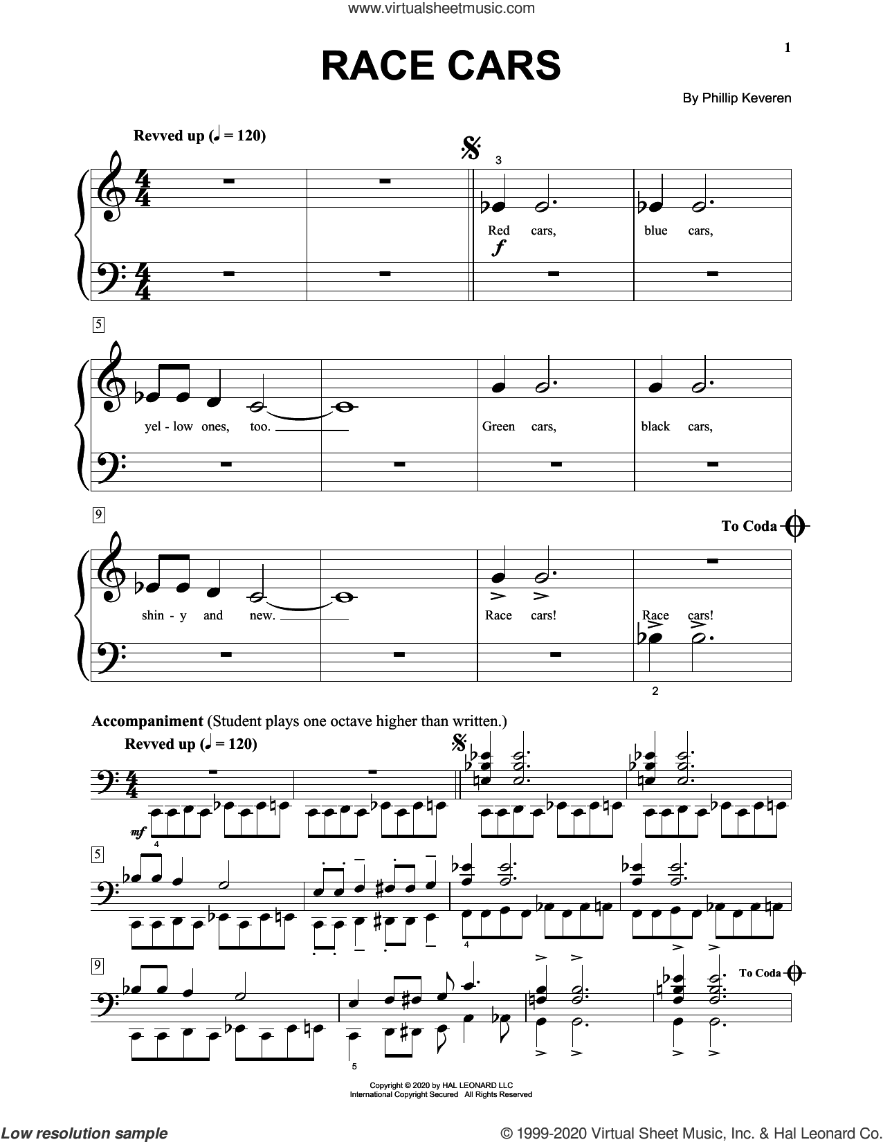 Race Cars sheet music for piano solo (big note book) by Phillip Keveren, easy piano (big note book)