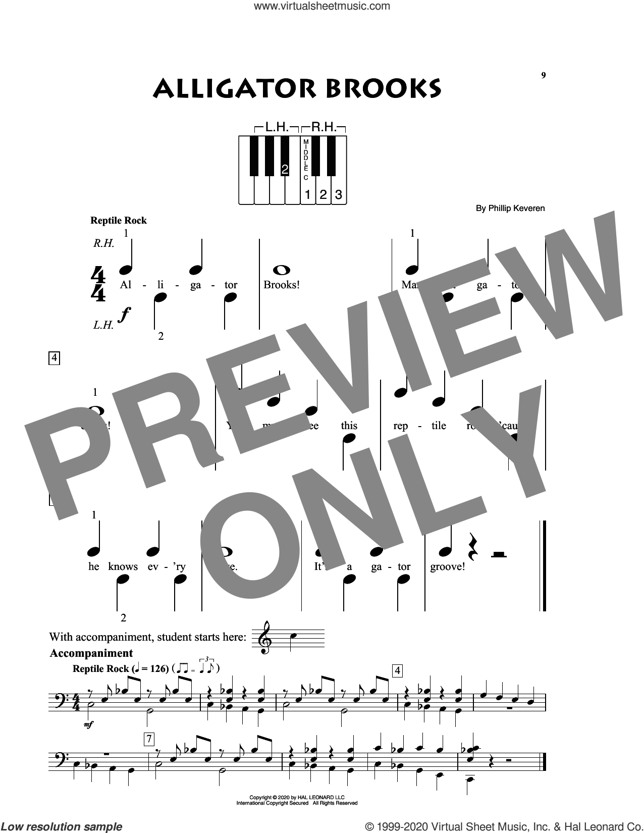 Alligator Brooks sheet music for piano solo (big note book) by Phillip Keveren, easy piano (big note book)