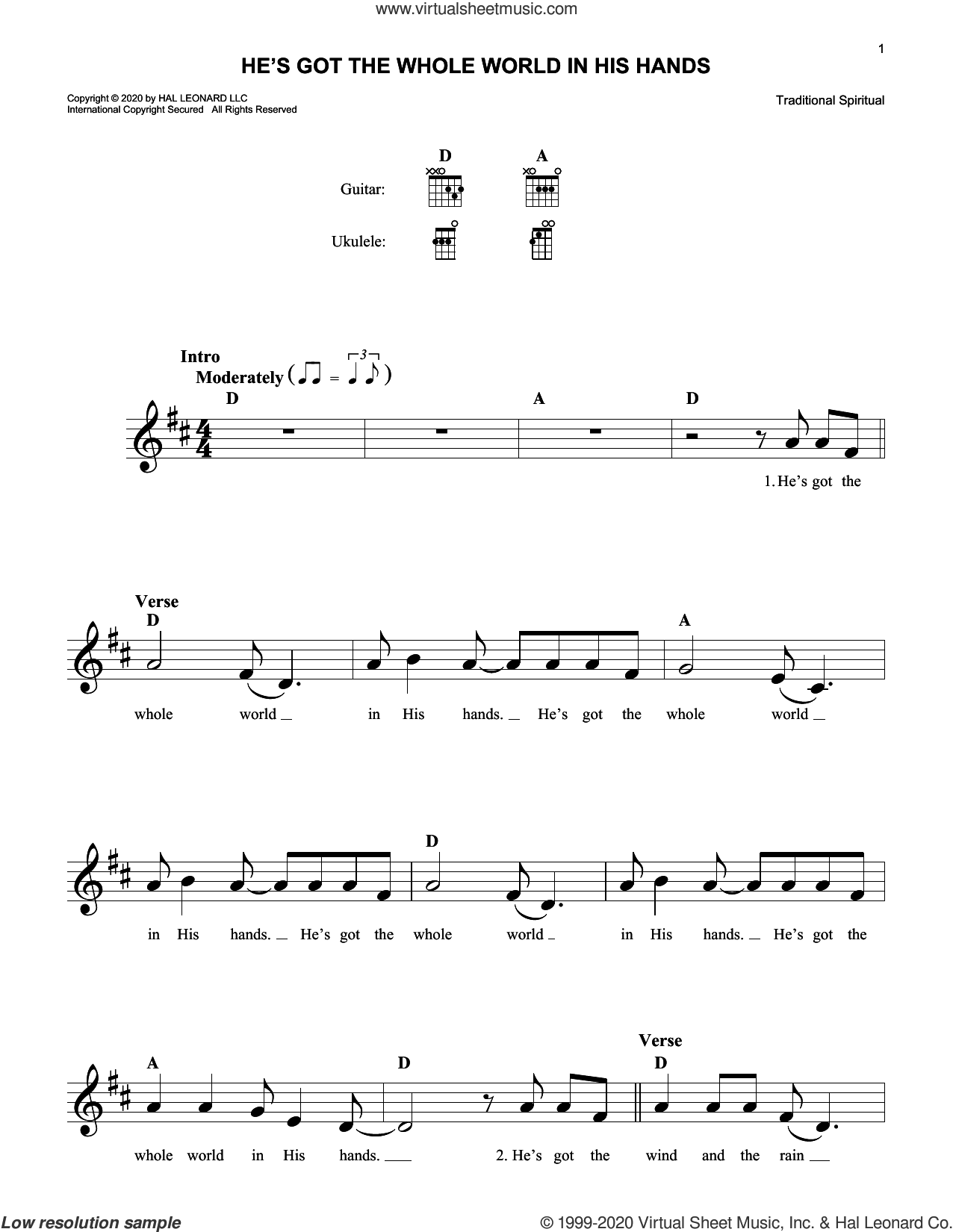 He's Got The Whole World In His Hands sheet music for voice and other instruments (fake book), intermediate skill level