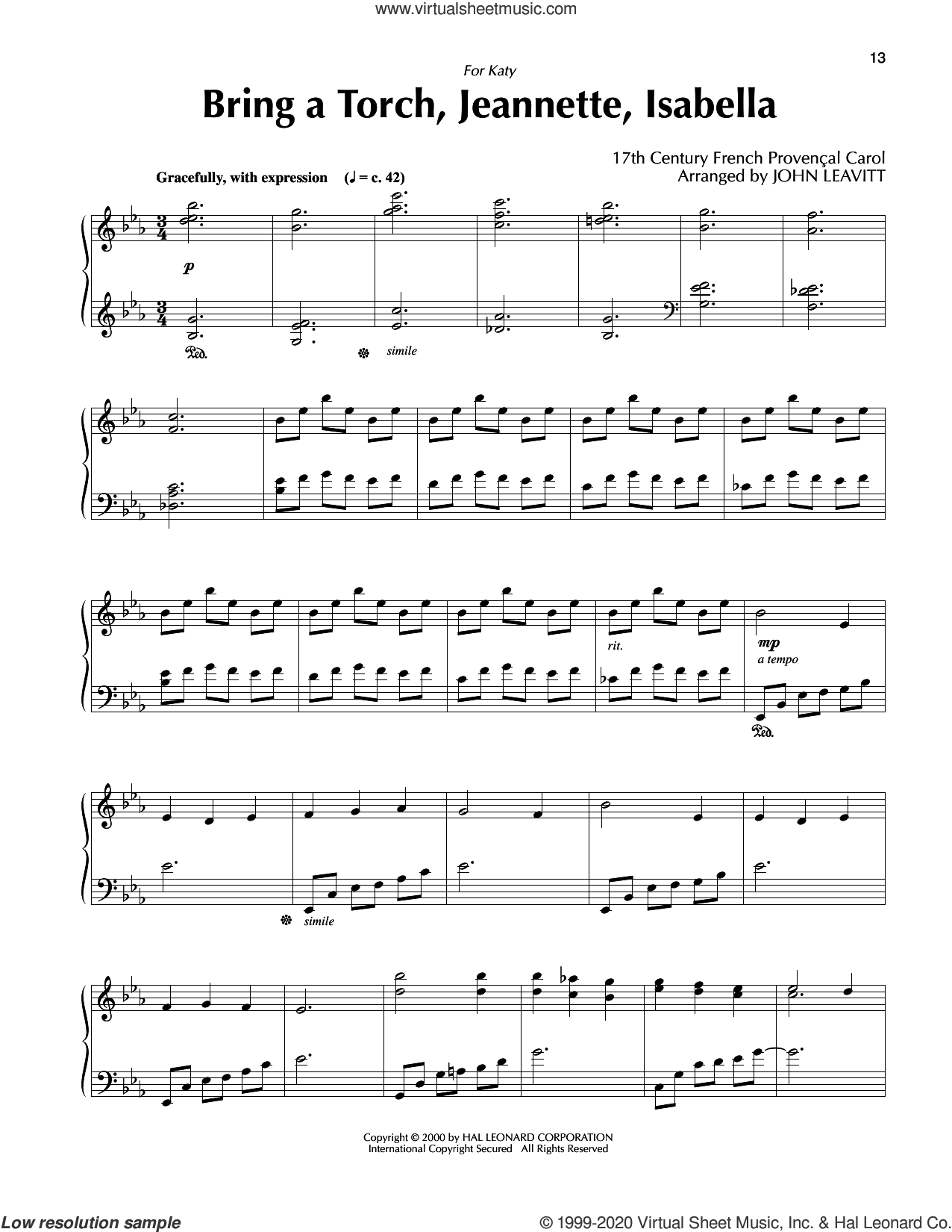 Bring A Torch, Jeannette, Isabella (arr. John Leavitt) sheet music for piano solo by Anonymous, John Leavitt and Miscellaneous, intermediate skill level