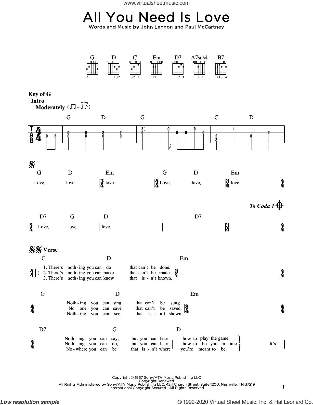 All You Need Is Love sheet music for guitar (rhythm tablature) by The Beatles, John Lennon and Paul McCartney, intermediate skill level