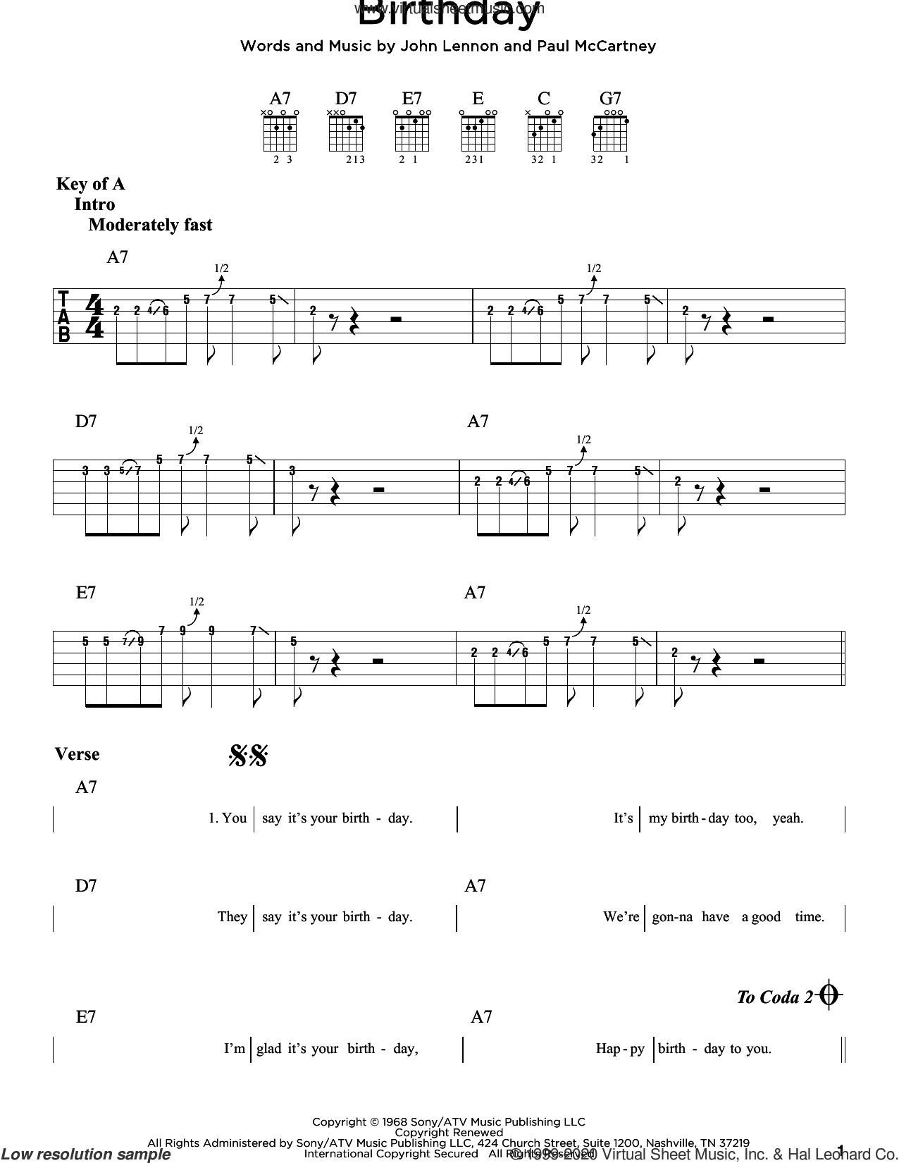 Birthday sheet music for guitar (rhythm tablature) by The Beatles, John Lennon and Paul McCartney, intermediate skill level