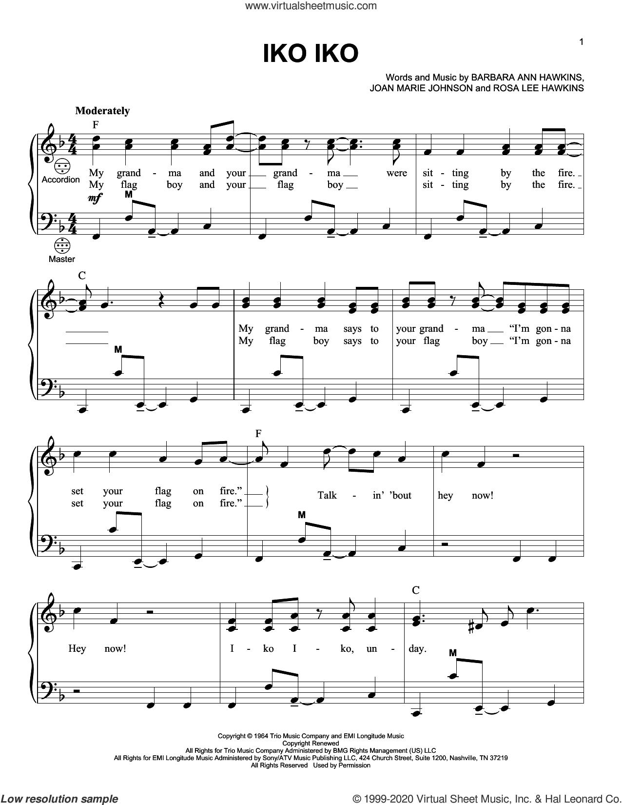 Iko Iko sheet music for accordion by The Dixie Cups, Barbara Ann Hawkins, Joan Marie Johnson and Rosa Lee Hawkins, intermediate skill level