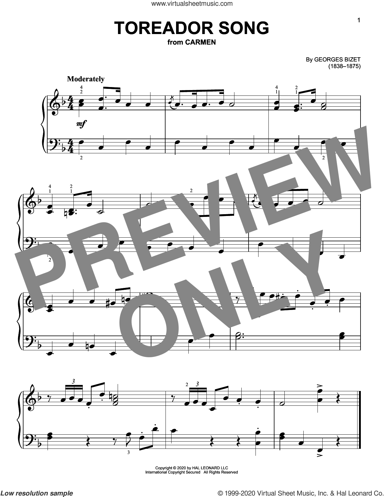 Toreador Song, (beginner) sheet music for piano solo by Georges Bizet, classical score, beginner skill level