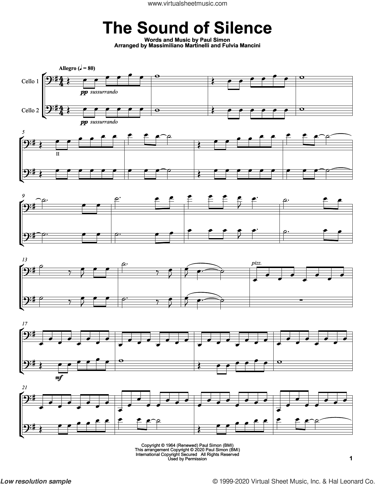 The Sound Of Silence sheet music for two cellos (duet, duets) by Mr. & Mrs. Cello, Simon & Garfunkel and Paul Simon, intermediate skill level