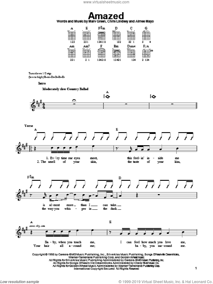 Amazed sheet music for guitar solo (chords) by Marv Green, Lonestar, Aimee Mayo and Chris Lindsey. Score Image Preview.