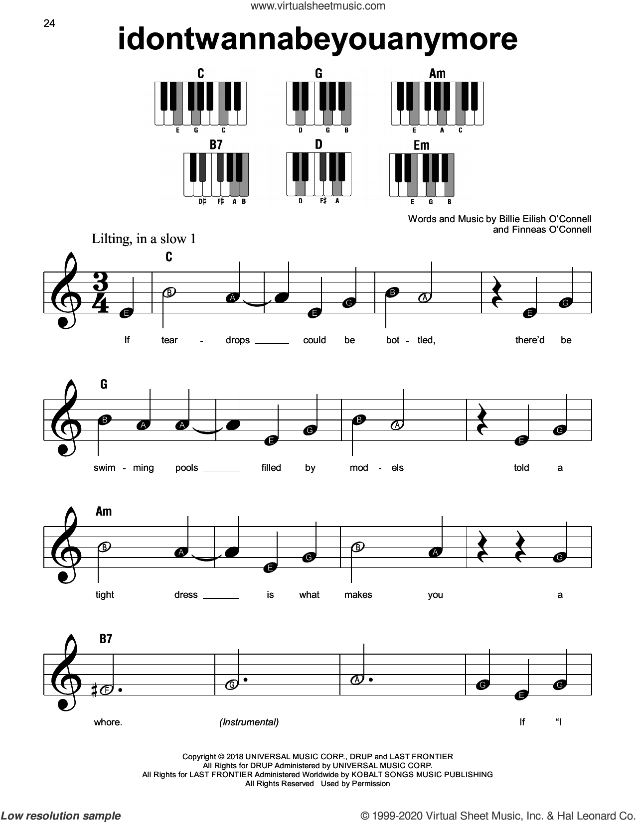 idontwannabeyouanymore sheet music for piano solo by Billie Eilish, beginner skill level