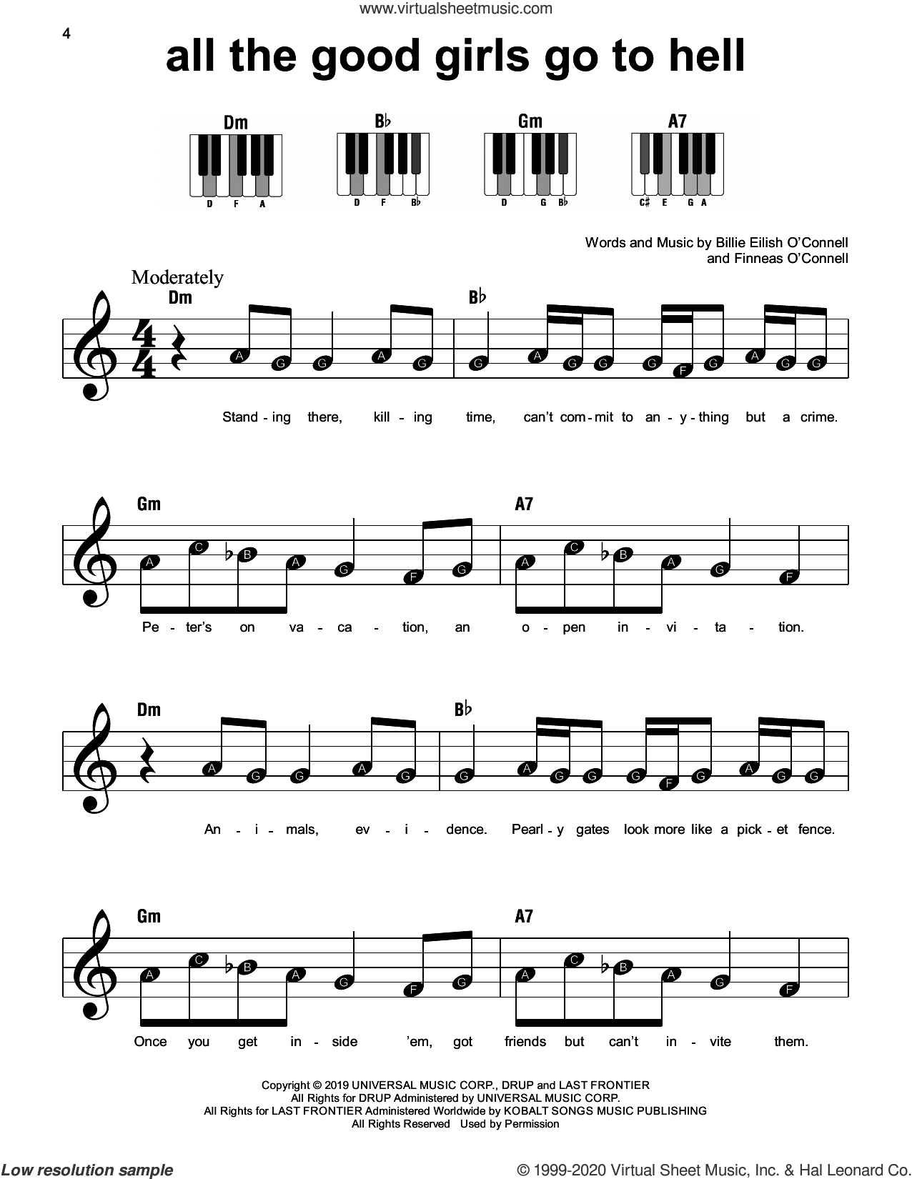 all the good girls go to hell sheet music for piano solo by Billie Eilish, beginner skill level