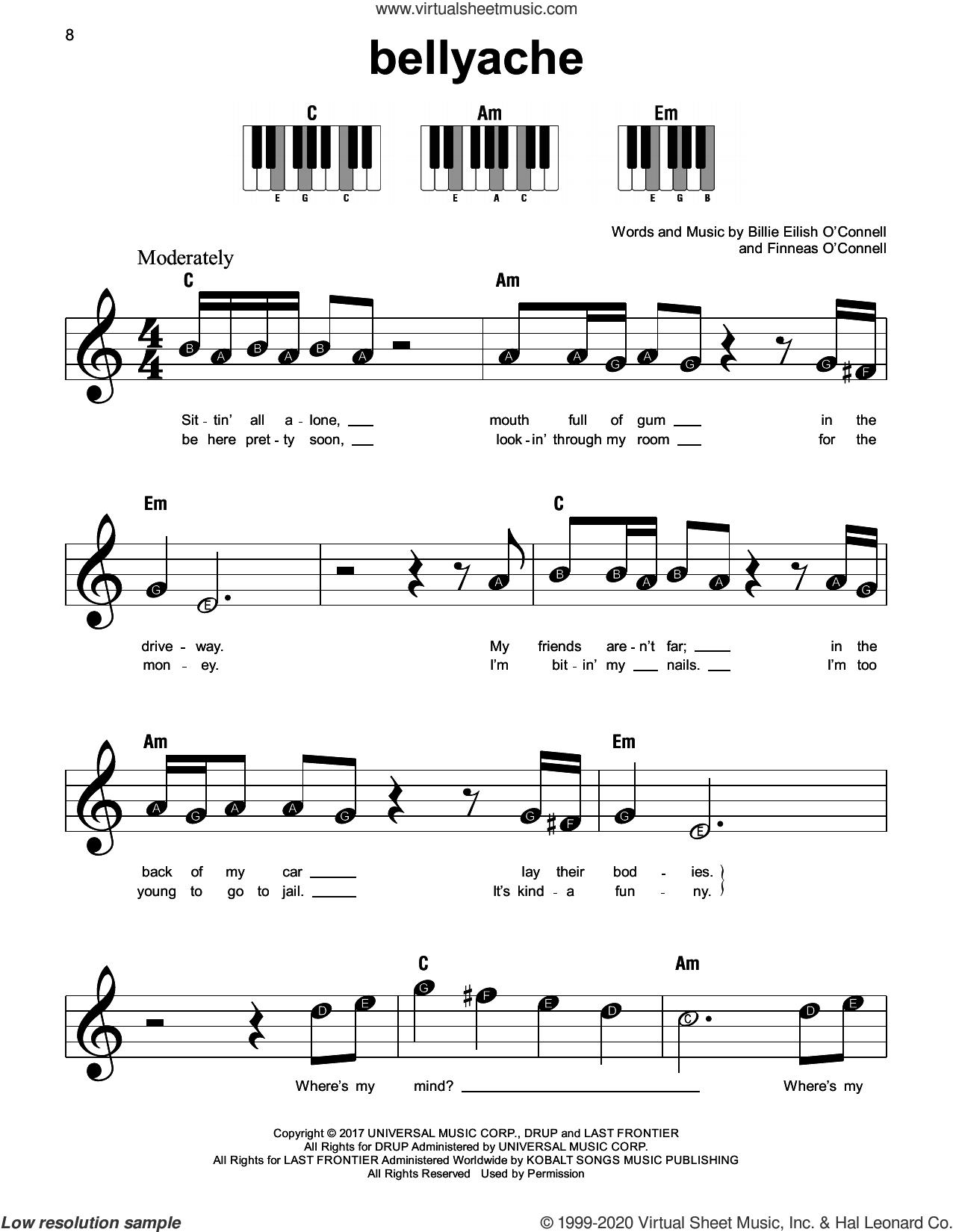 bellyache sheet music for piano solo by Billie Eilish, beginner skill level