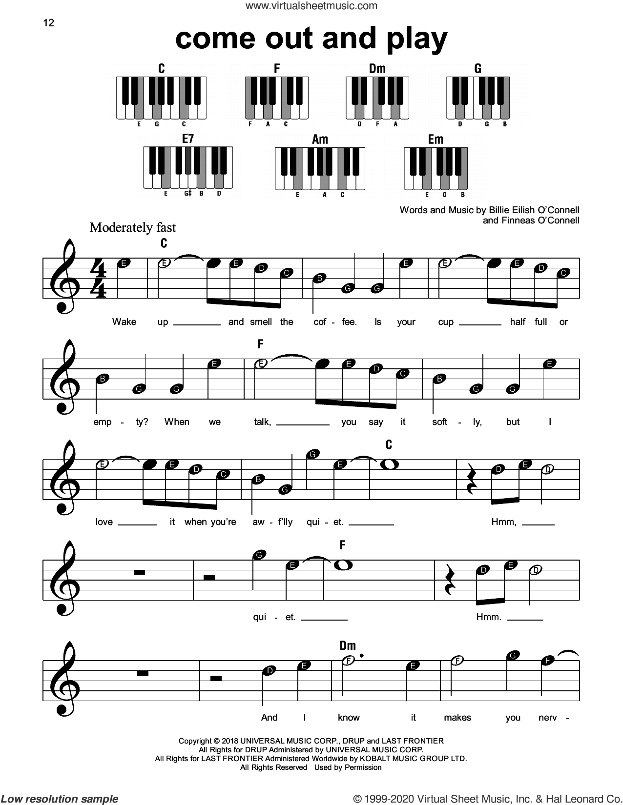 come out and play sheet music for piano solo by Billie Eilish, beginner skill level