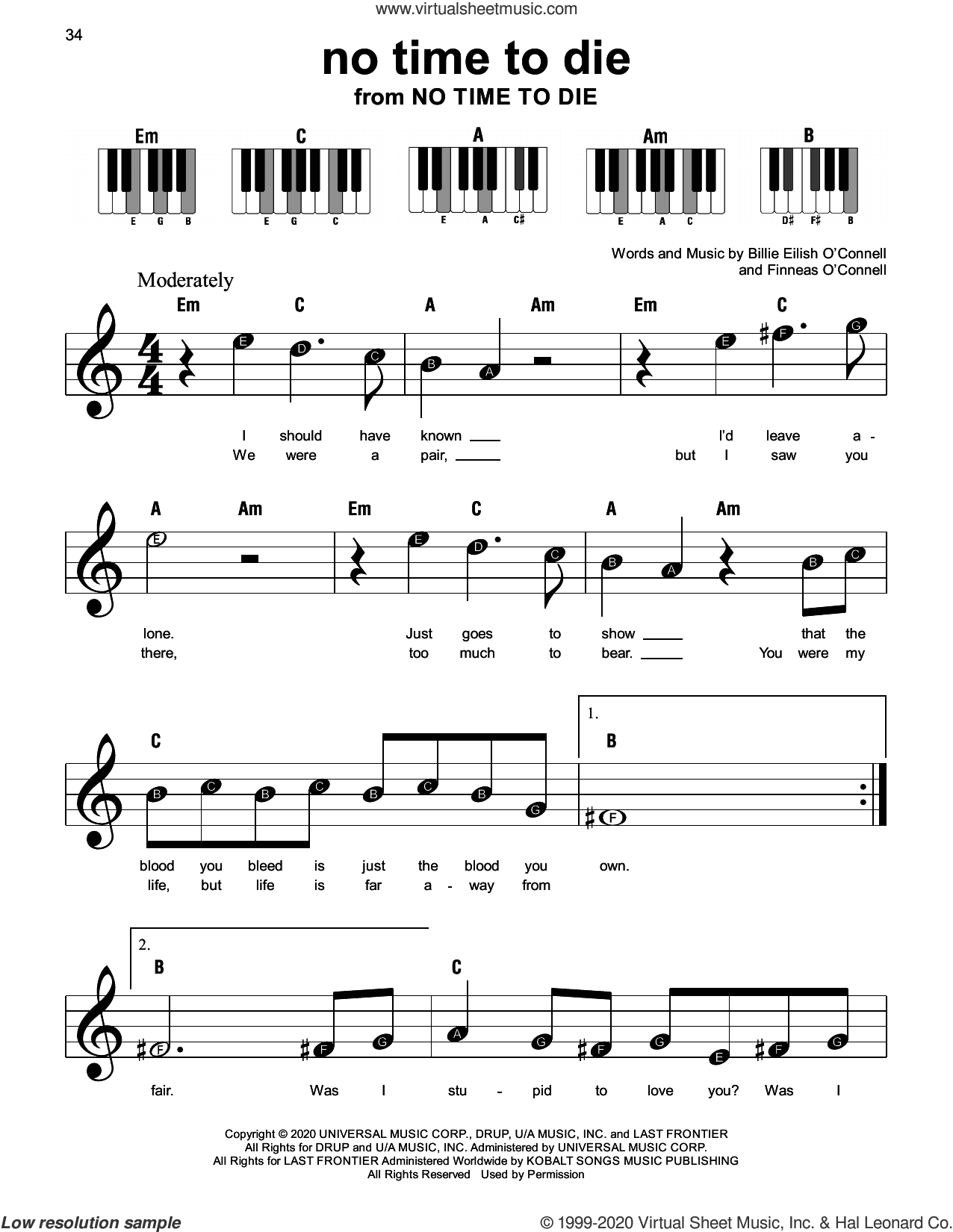 No Time To Die, (beginner) sheet music for piano solo by Billie Eilish, beginner skill level