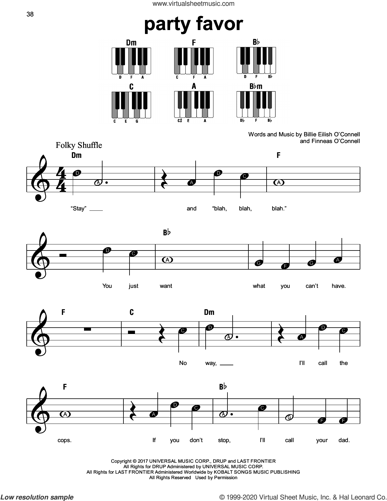party favor sheet music for piano solo by Billie Eilish, beginner skill level