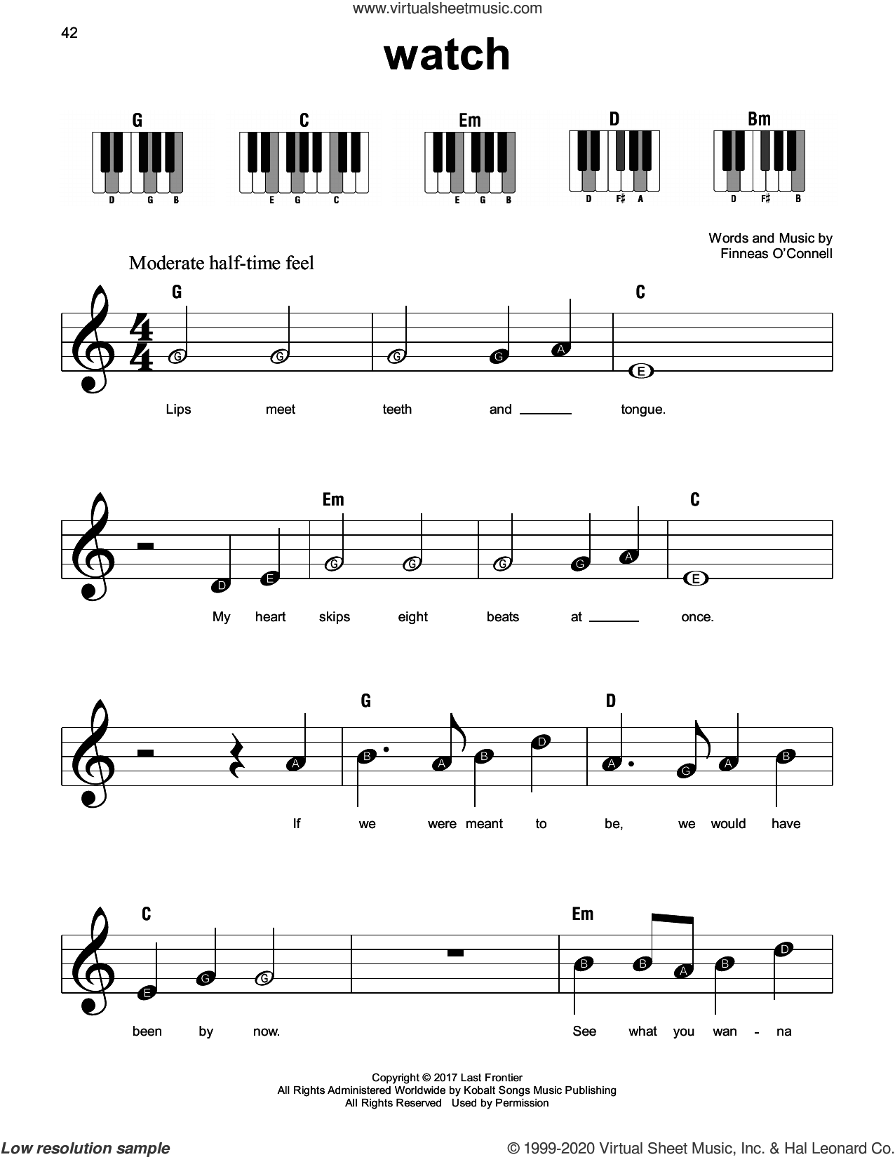 watch sheet music for piano solo by Billie Eilish, beginner skill level