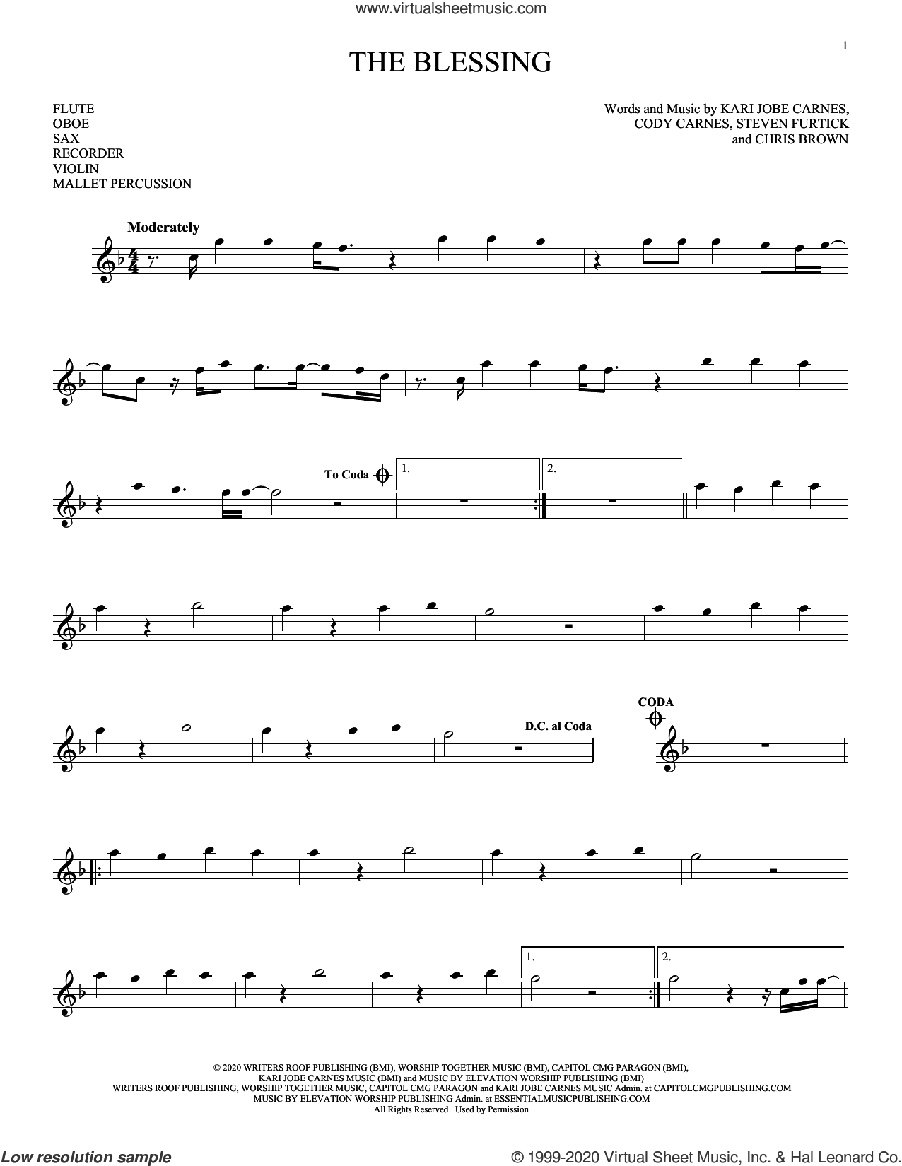 The Blessing sheet music for Solo Instrument (treble clef high) by Kari Jobe, Cody Carnes & Elevation Worship, Chris Brown, Cody Carnes, Kari Jobe Carnes and Steven Furtick, intermediate skill level