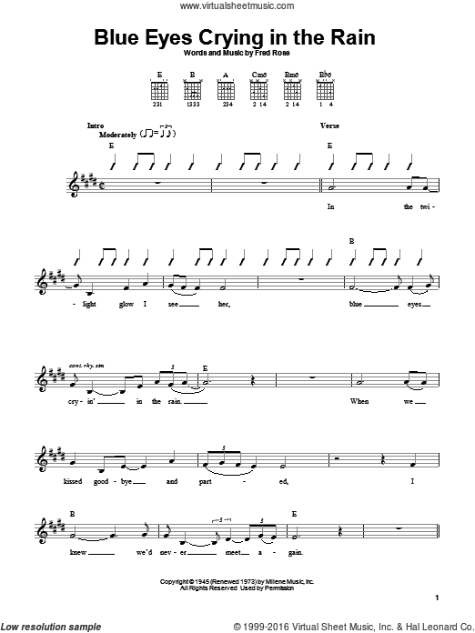 Blue Eyes Crying In The Rain sheet music for guitar solo (chords) by Willie Nelson, Elvis Presley and Fred Rose. Score Image Preview.