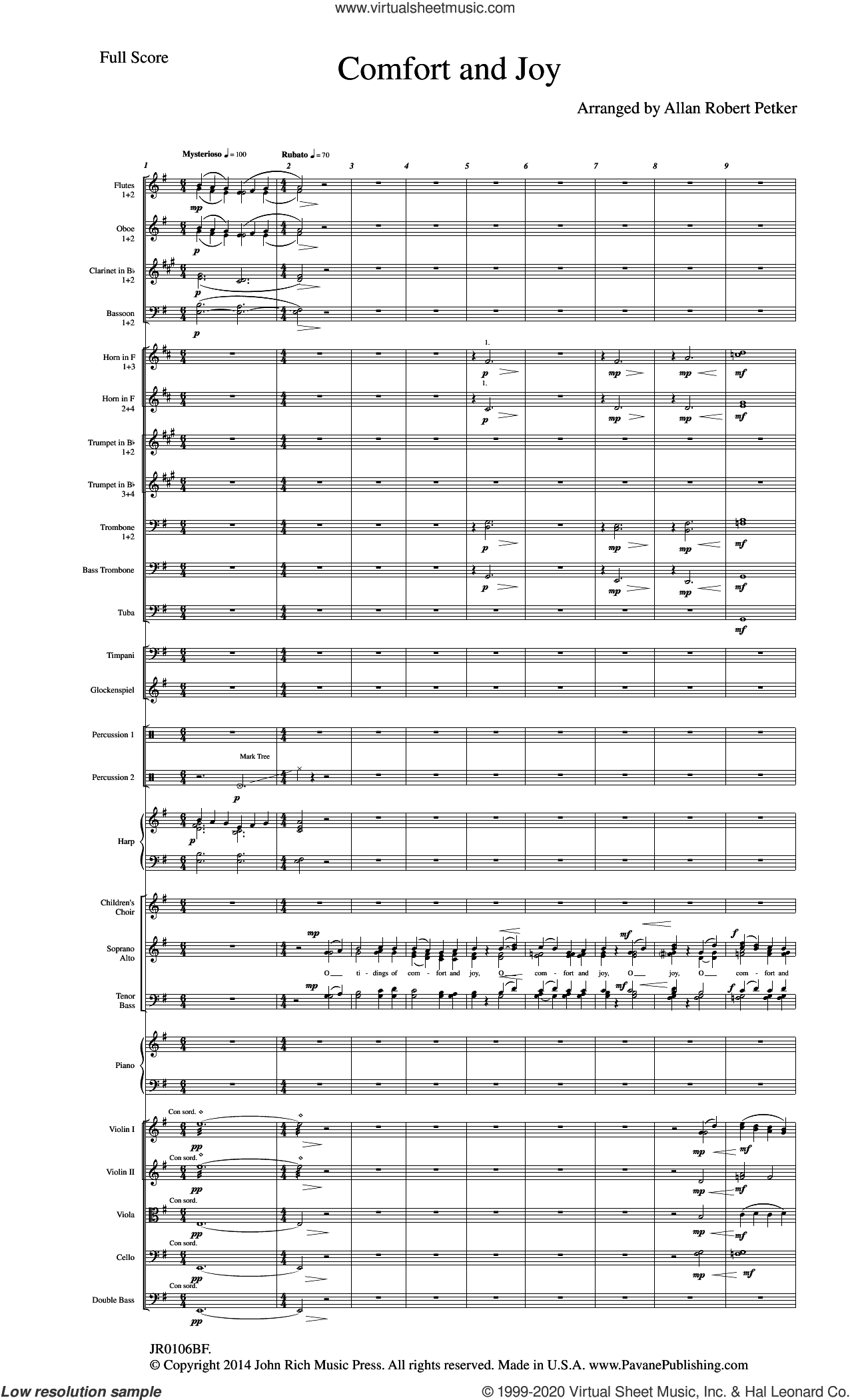 Comfort And Joy (Full Orchestration) (COMPLETE) sheet music for orchestra/band by Allan Robert Petker, intermediate skill level