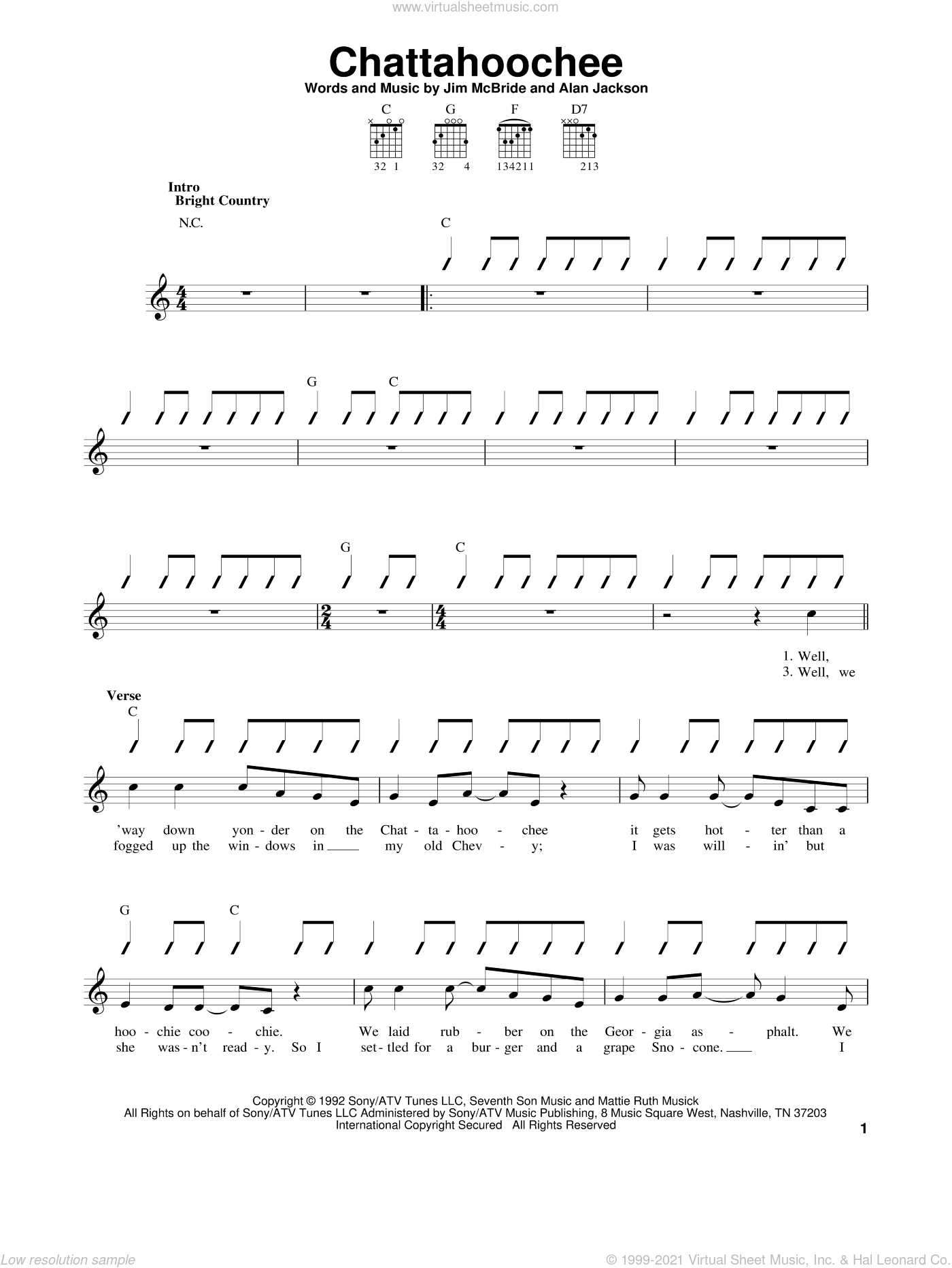 Chattahoochee sheet music for guitar solo (chords) by Jim McBride and Alan Jackson. Score Image Preview.