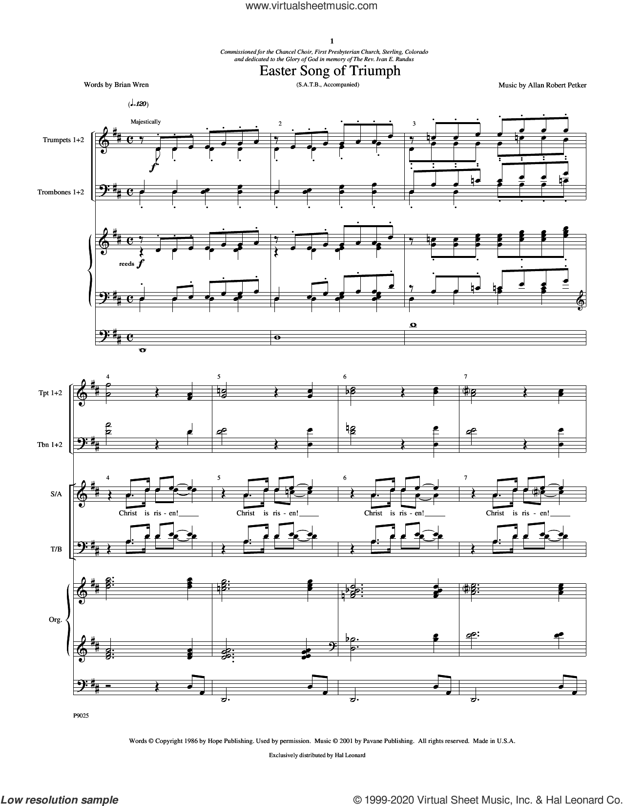 Easter Song Of Triumph (COMPLETE) sheet music for orchestra/band (Brass) by Allan Robert Petker, intermediate skill level