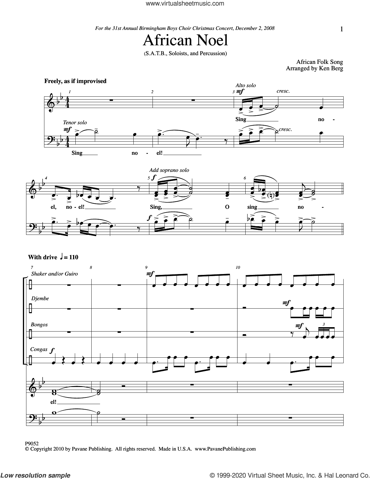 African Noel (COMPLETE) sheet music for orchestra/band (Percussion) by Ken Berg, intermediate skill level