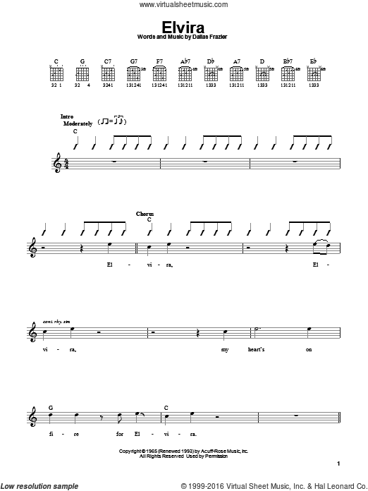 Elvira sheet music for guitar solo (chords) by Dallas Frazier and Oak Ridge Boys. Score Image Preview.