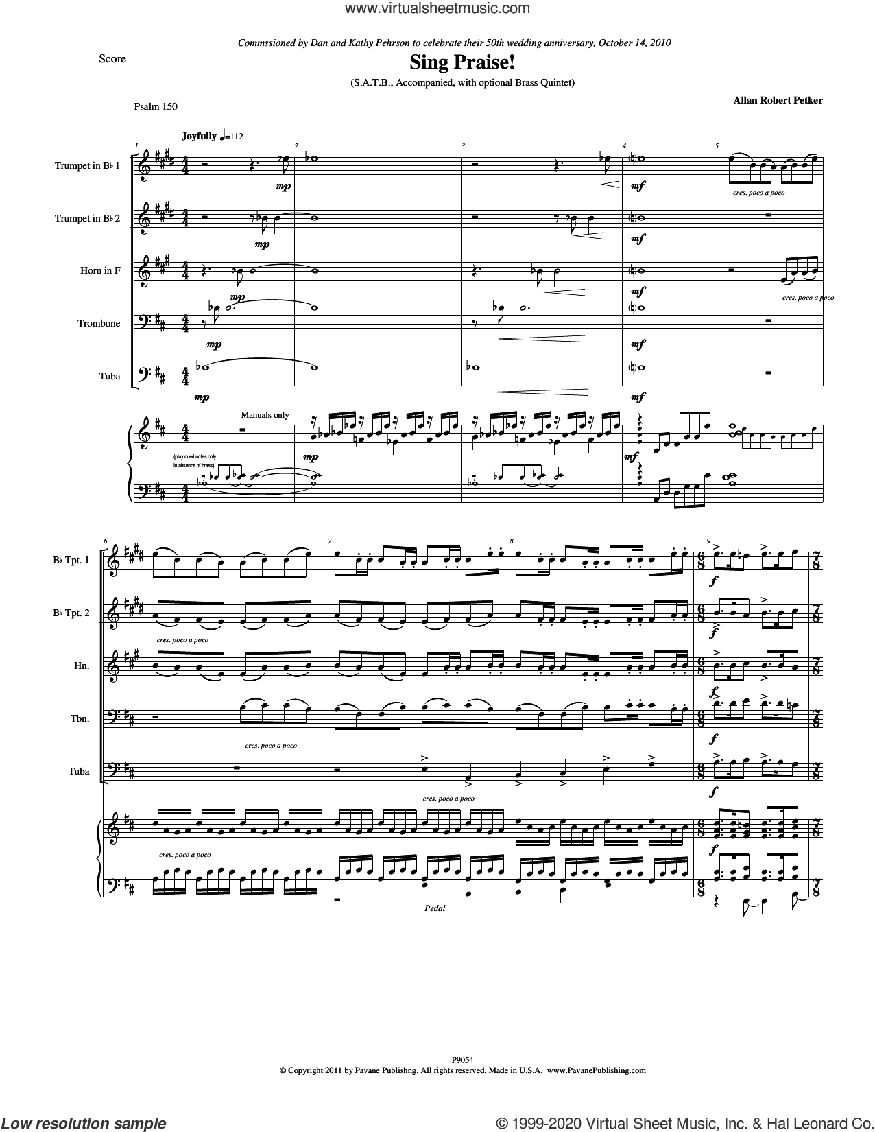 Sing Praise! (COMPLETE) sheet music for orchestra/band by Allan Robert Petker and Psalm 150, intermediate skill level