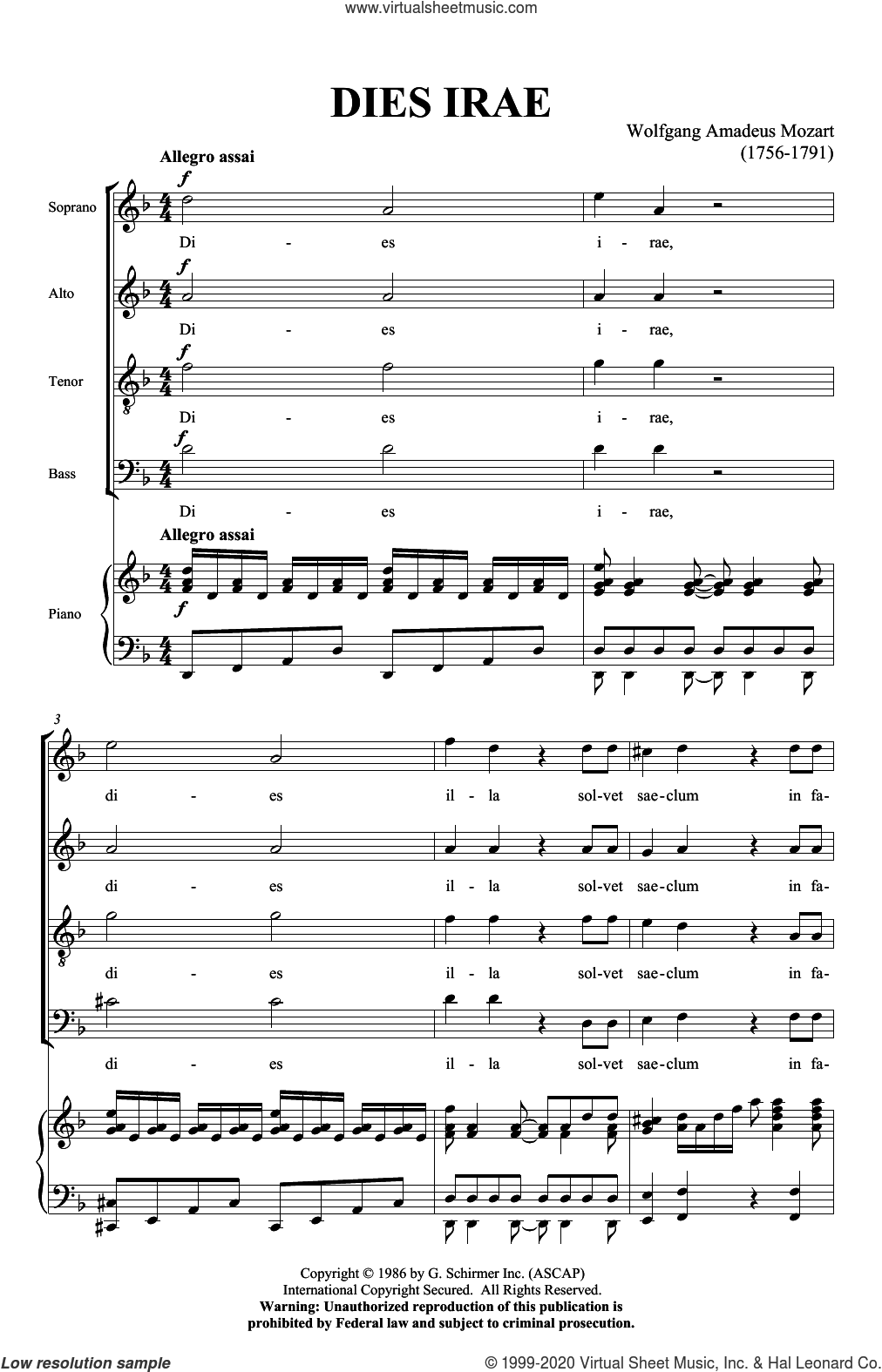 Dies Irae (from Requiem) sheet music for choir (SATB: soprano, alto, tenor, bass) by Wolfgang Amadeus Mozart, classical score, intermediate skill level