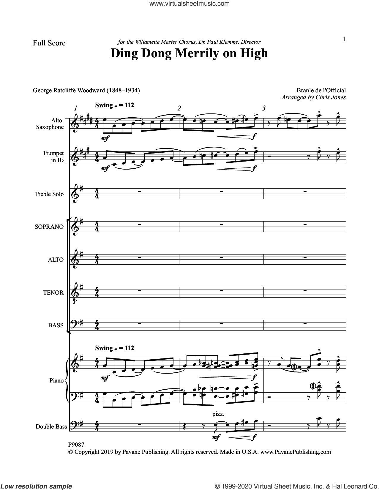 Ding Dong Merrily on High (COMPLETE) sheet music for orchestra/band by Chris Jones and George Ratliff Woodward, intermediate skill level