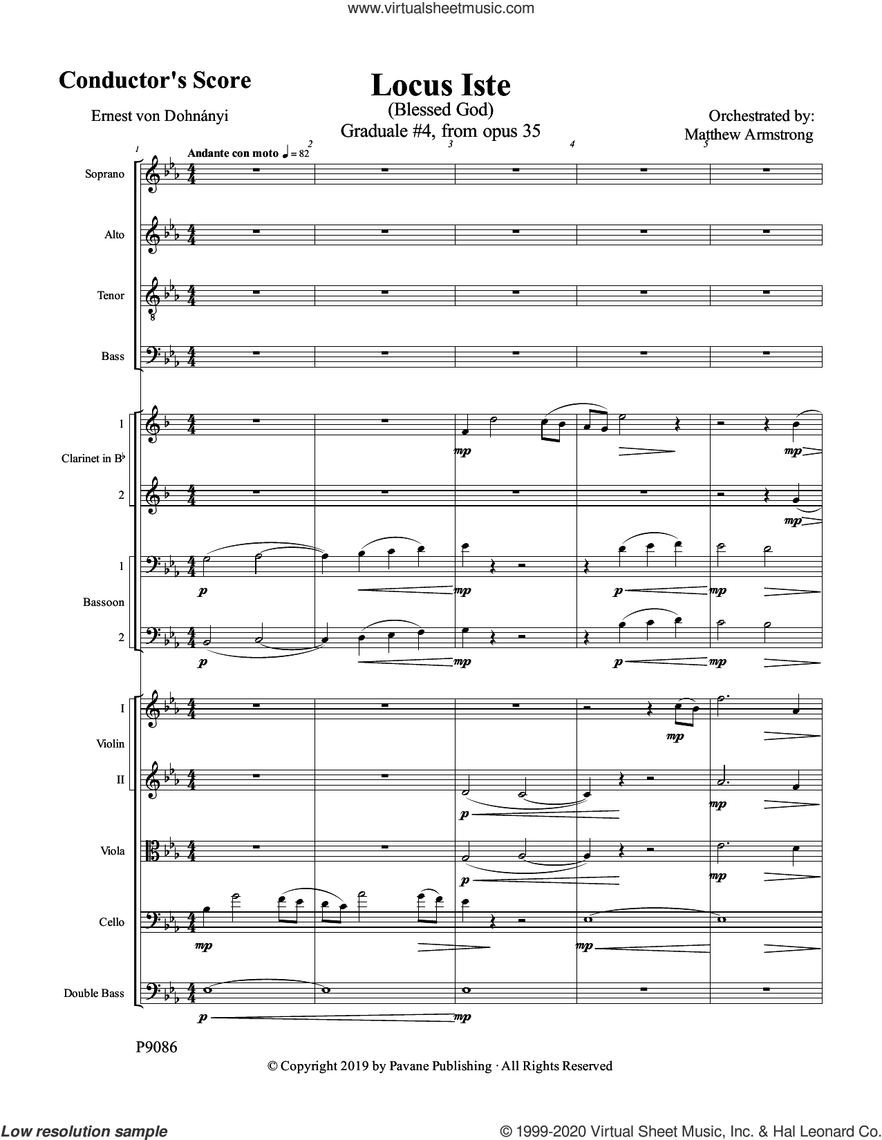 Locus Iste (COMPLETE) sheet music for orchestra/band by Matthew Armstrong and Ernest von Dohnanyi, intermediate skill level
